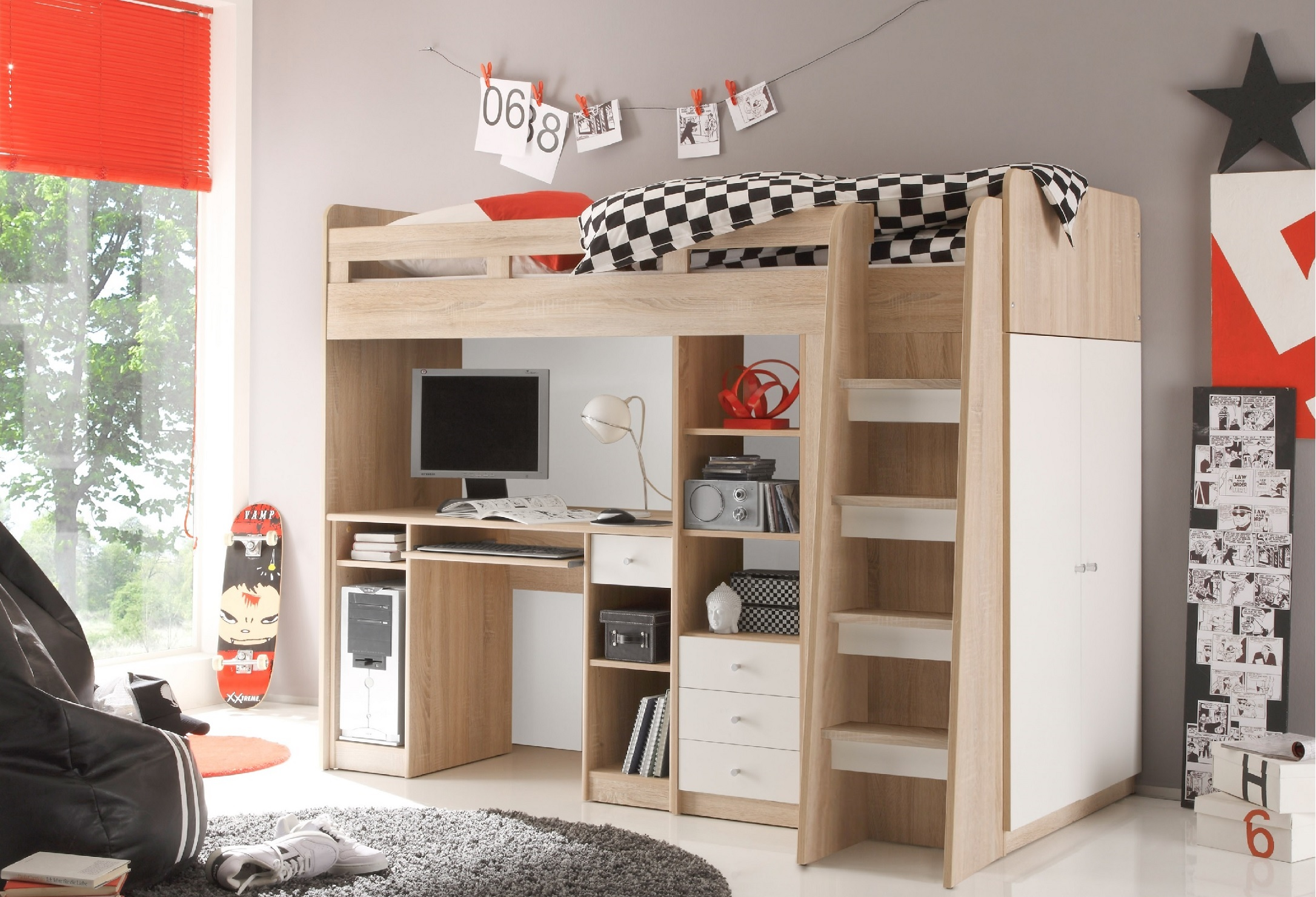 hochbett unit jugendbett kinderbett etagenbett stockbett schreibtisch eiche wei ebay. Black Bedroom Furniture Sets. Home Design Ideas