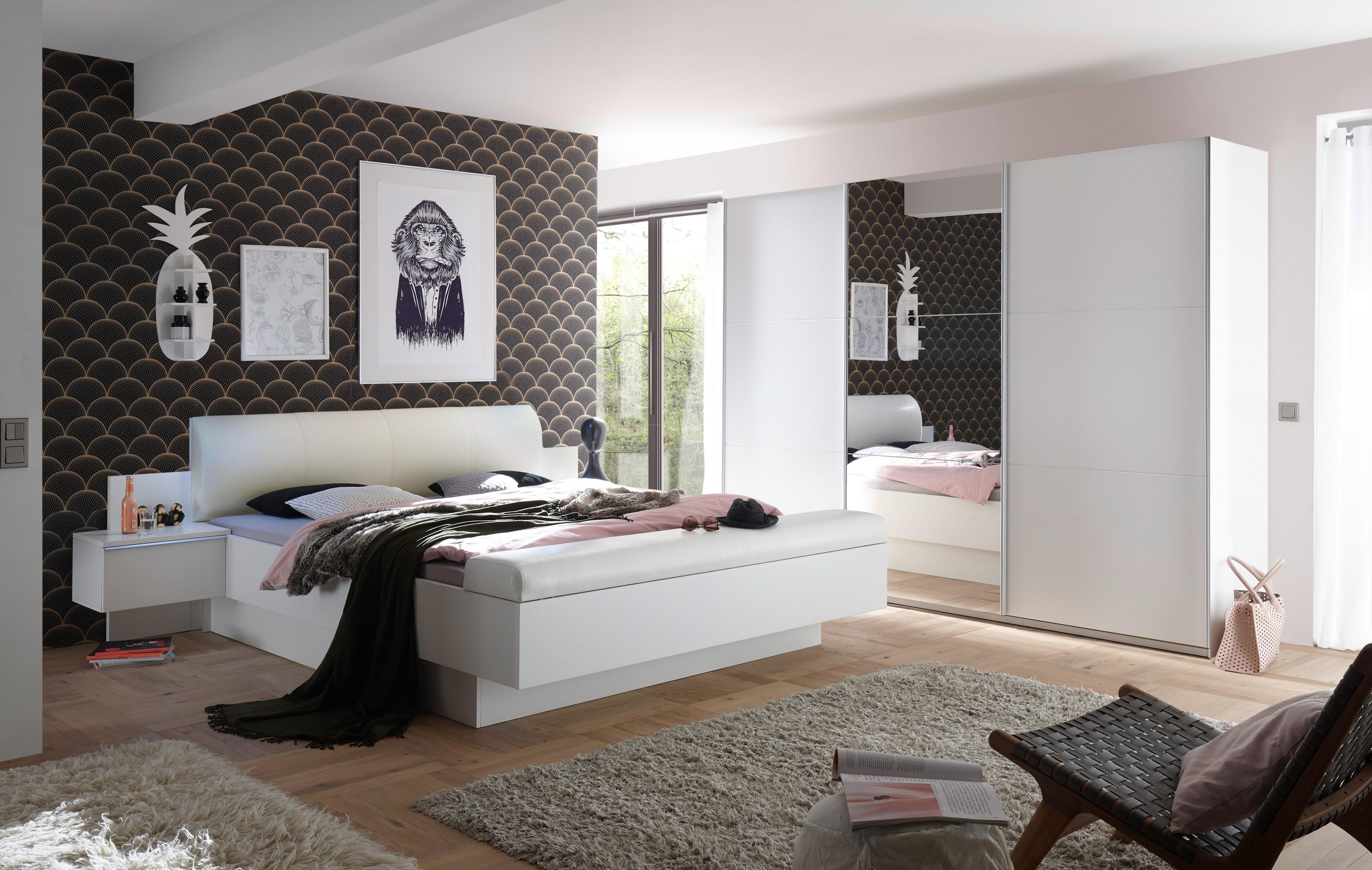 Details zu Schlafzimmer Komplett Set 4-tlg. BONN BRAVO Bett 180 Schrank  weiß Leder