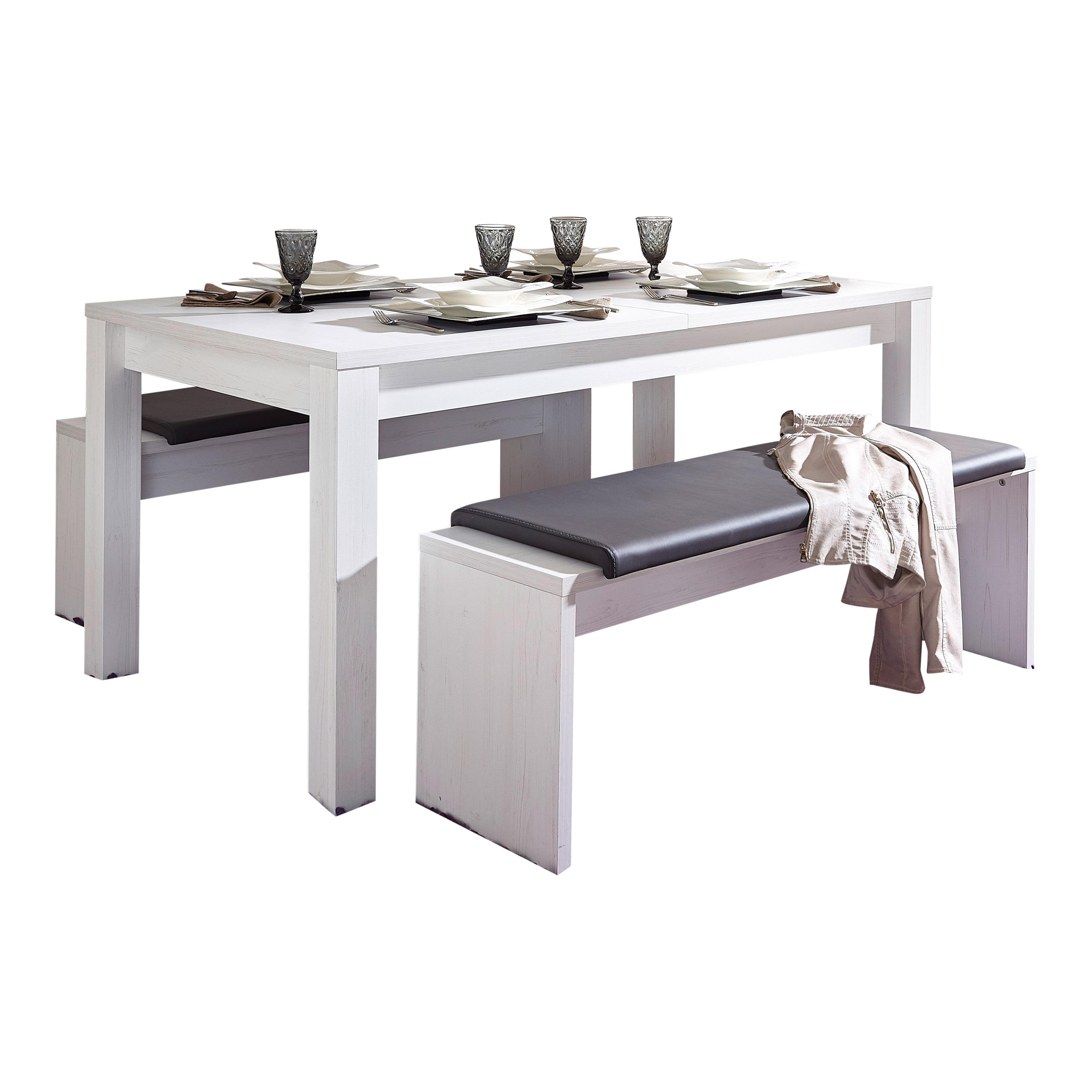 Essgruppe Tischgruppe Esstisch 160-240 cm Bank Pinie hell weiß | eBay