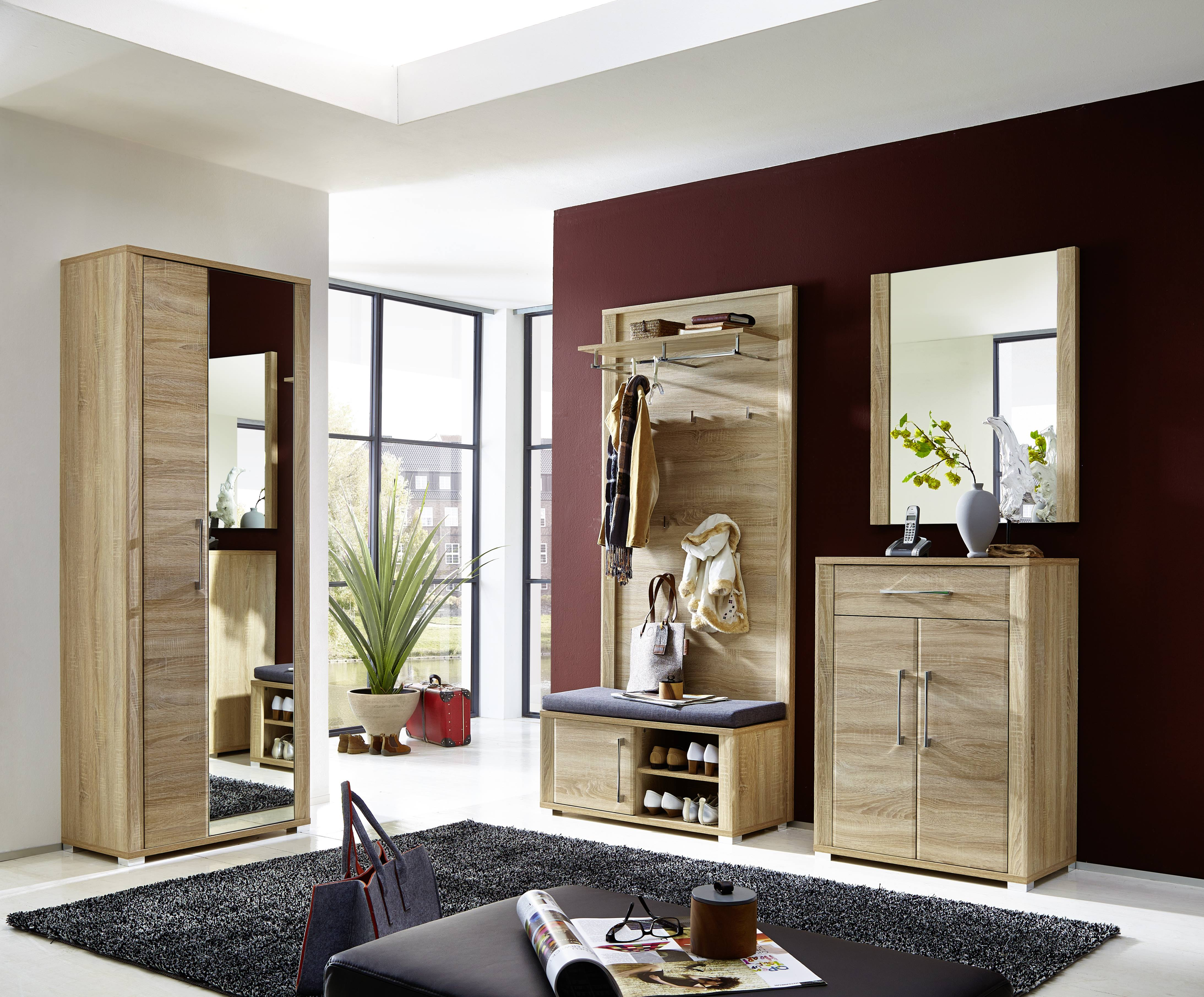 garderobe go 5 tlg garderobenschrank paneel bank schuhschrank spiegel eiche ebay. Black Bedroom Furniture Sets. Home Design Ideas