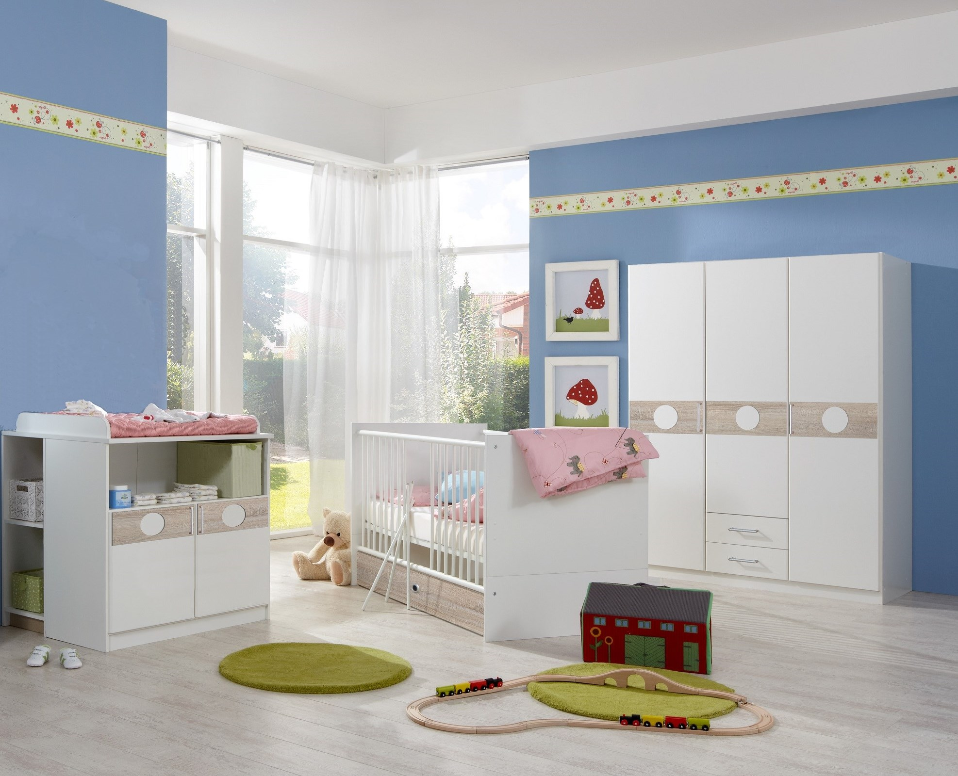 babyzimmer set kimba 3tlg komplett bett wickelkommode gr schrank eiche s gerau ebay. Black Bedroom Furniture Sets. Home Design Ideas