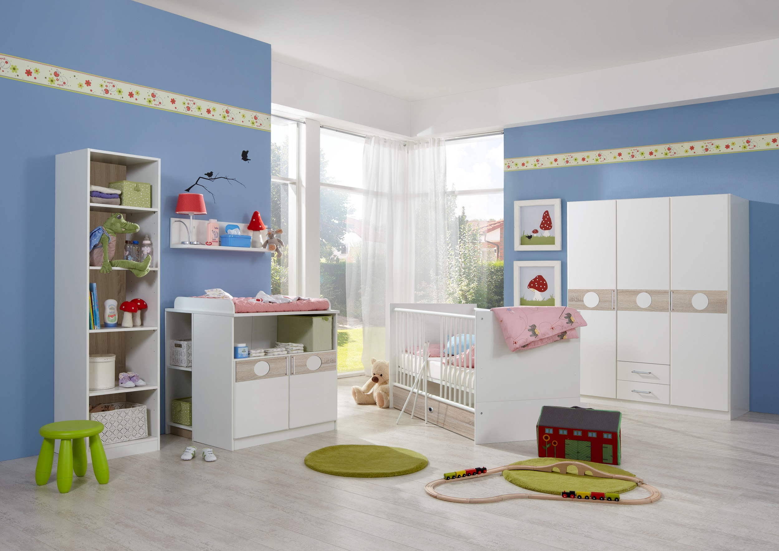 babyzimmer set kimba 7tlg komplett bett wickelkommode gr schrank regal eiche ebay. Black Bedroom Furniture Sets. Home Design Ideas