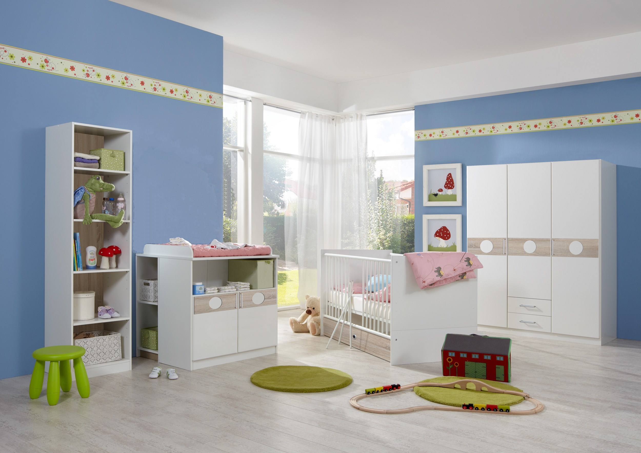 babyzimmer set kimba 6tlg komplett bett wickelkommode gr schrank regal eiche s ebay. Black Bedroom Furniture Sets. Home Design Ideas