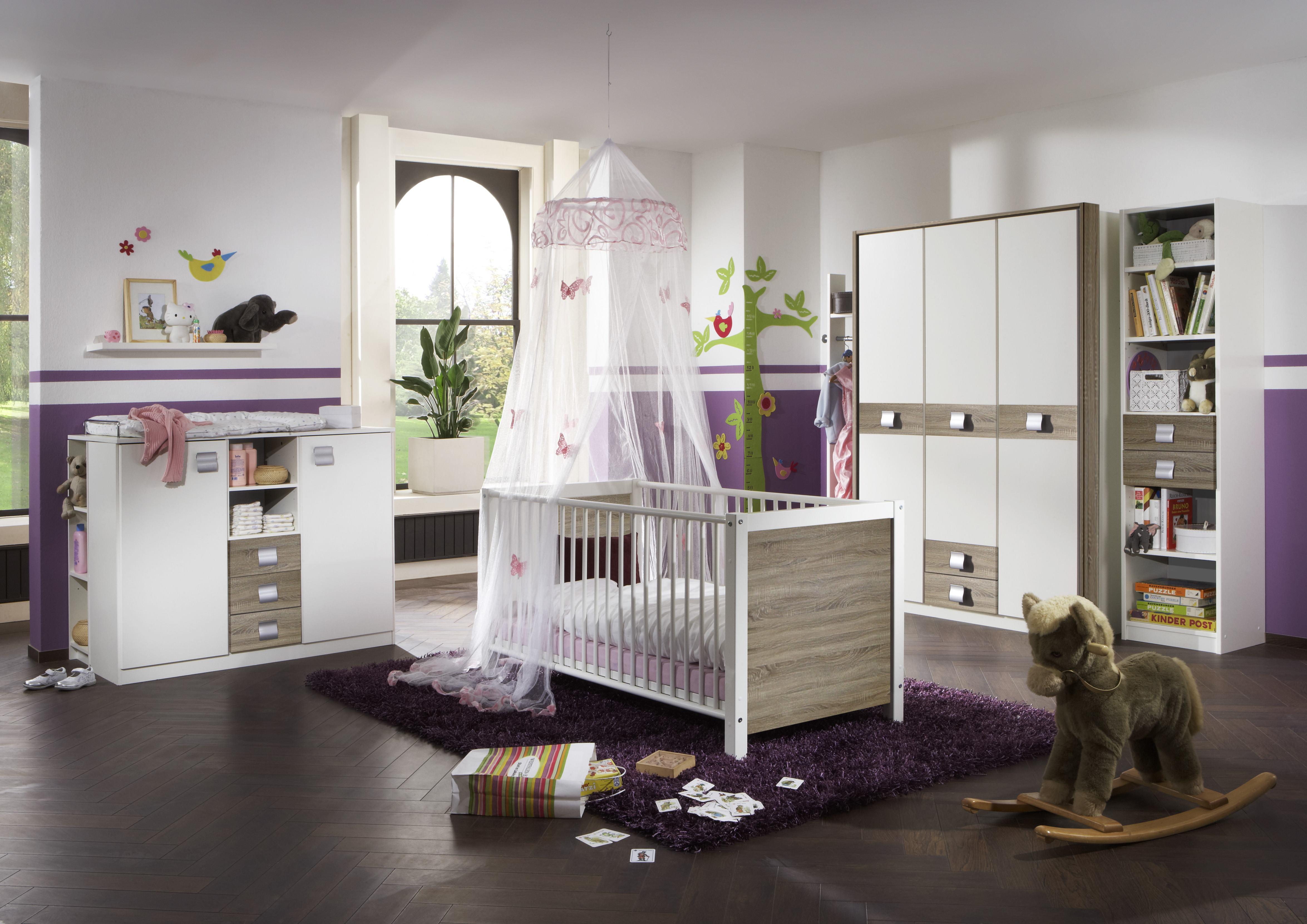 Babyzimmer Set Jalta 5tlg Bett Wickelkommode Schrank Regal Eiche