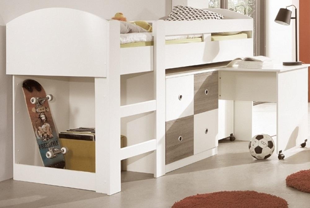 Hochbett KIRA Jugendbett Kinderbett Bett Schreibtisch Kinderzimmer ...
