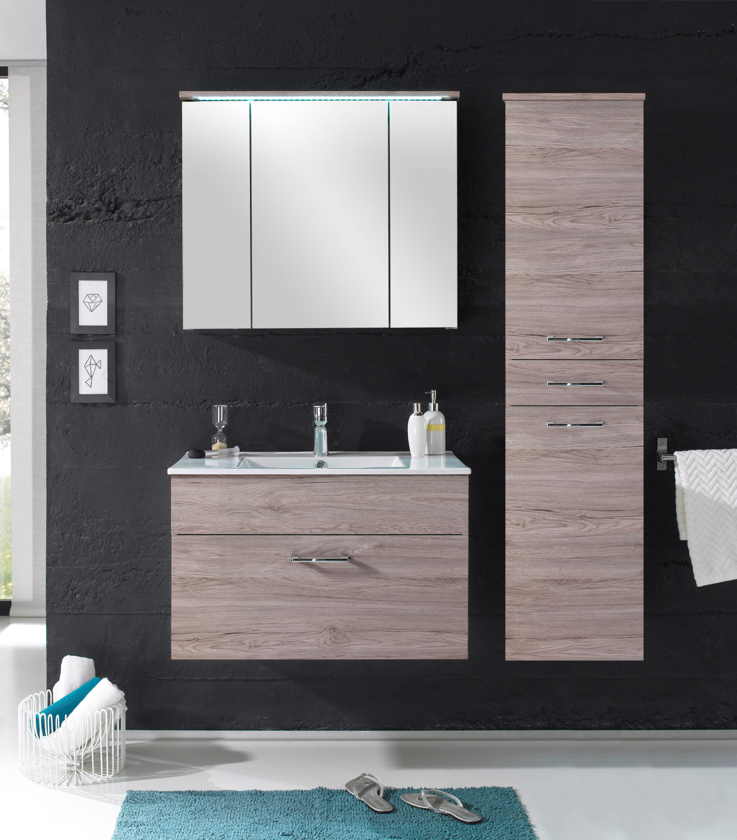 badm bel splash 3 tlg badezimmer set badm bel badezimmerm bel in braun sandeiche ebay. Black Bedroom Furniture Sets. Home Design Ideas