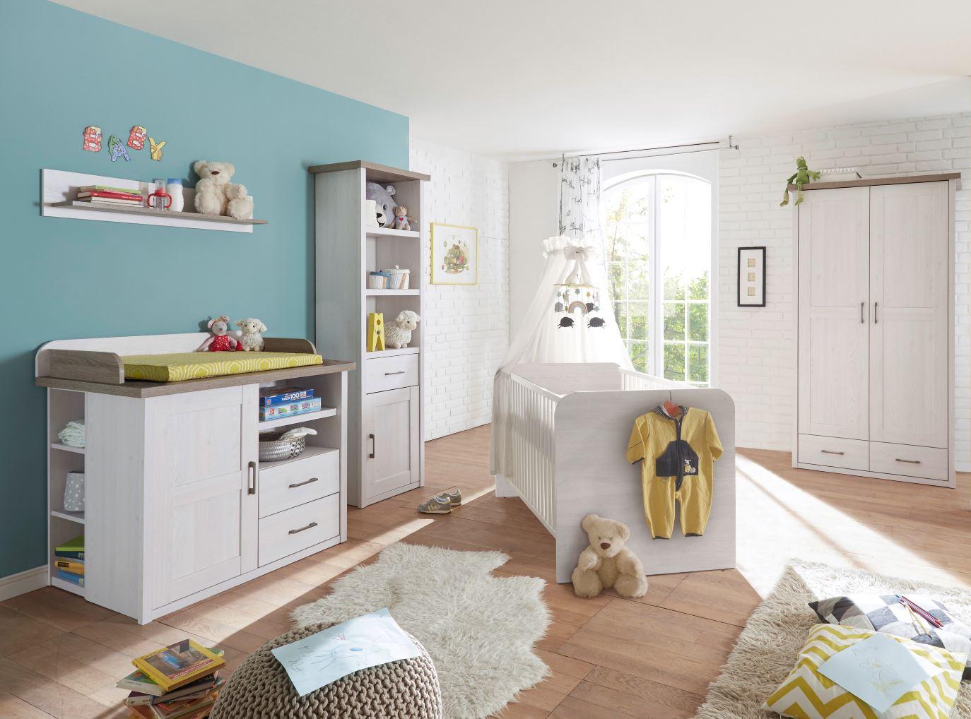 Babyzimmer Set Luca 5tlg Wickelkommode Bett Regal Schrank 2