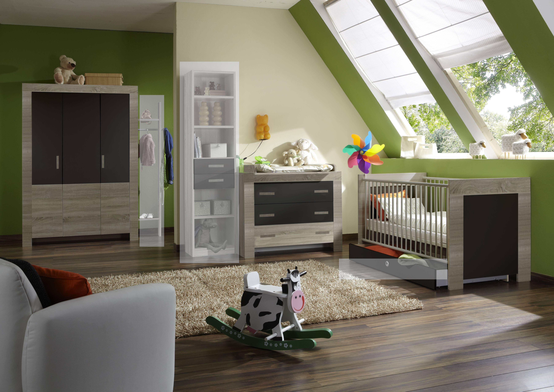 Babyzimmer Set Emily 4tlg Komplett Bett Wickelkommode Schrank Eiche