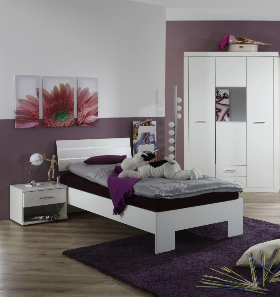Jugendzimmer Set Komplett Night Strass Glitzer Bett Nachtkommode