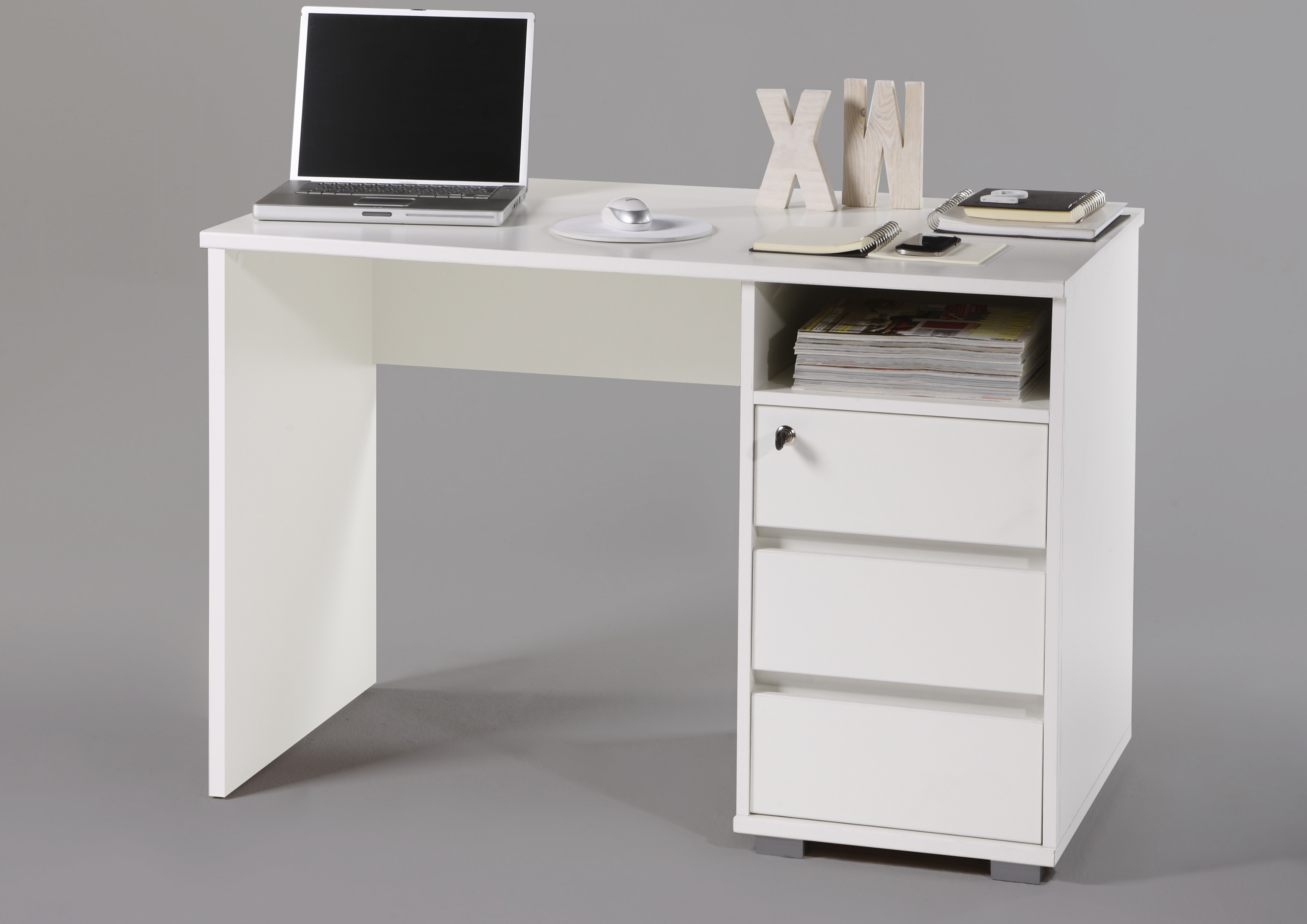 schreibtisch primus pc tisch computertisch home office b ro wei ebay. Black Bedroom Furniture Sets. Home Design Ideas