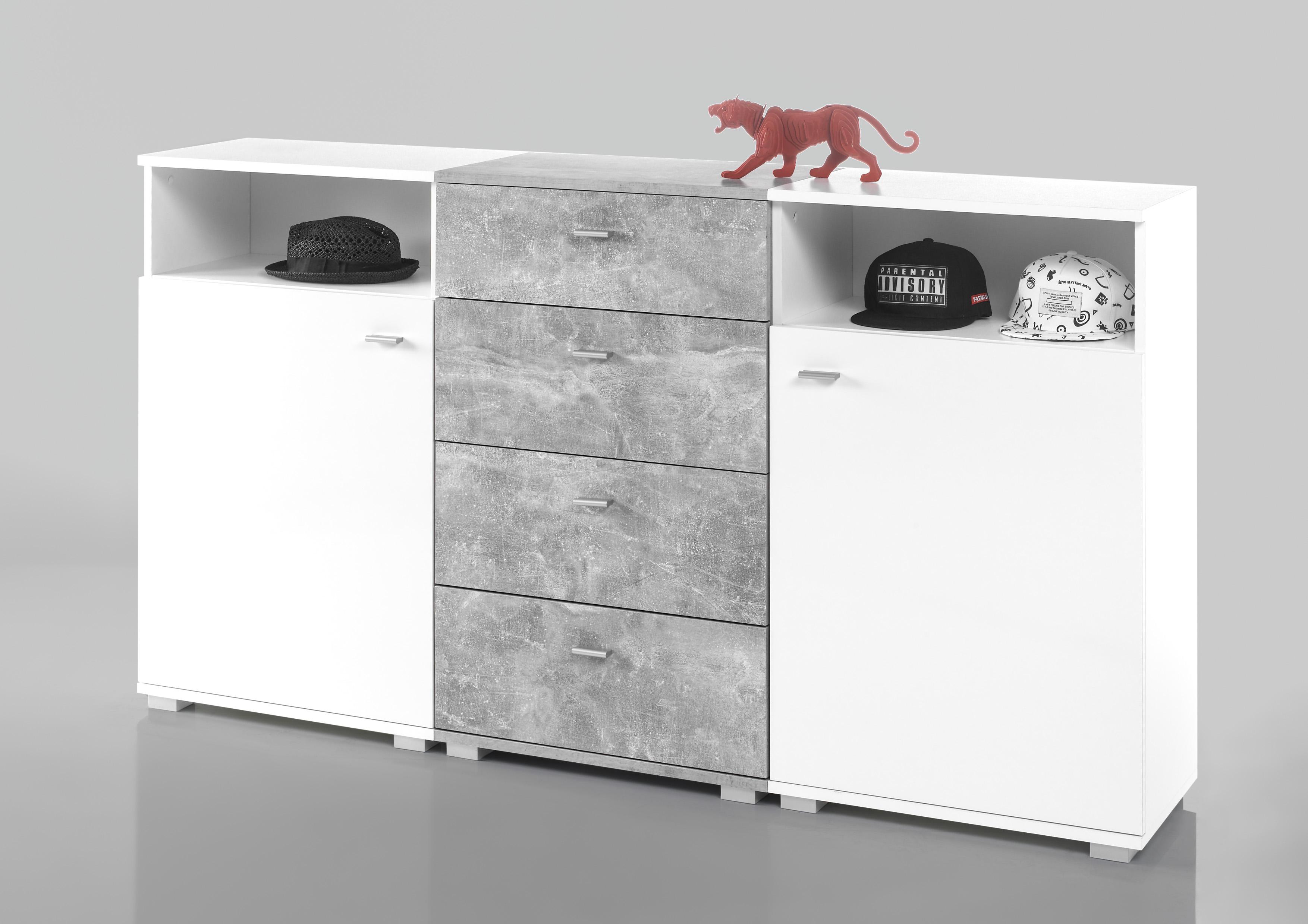 Sideboard Kommode Perf Highboard Anrichte Gross Breit Weiss Grau Beton