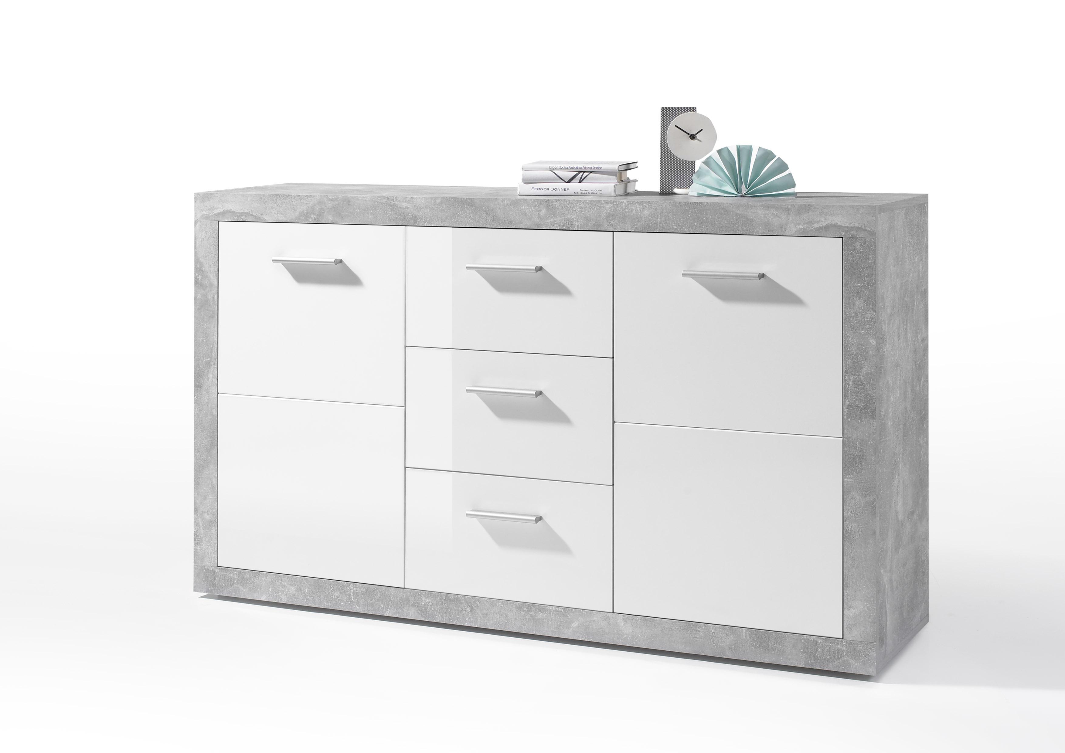 Details Zu Sideboard Kommode Stone Esszimmer Weiß Grau Beton 150cm