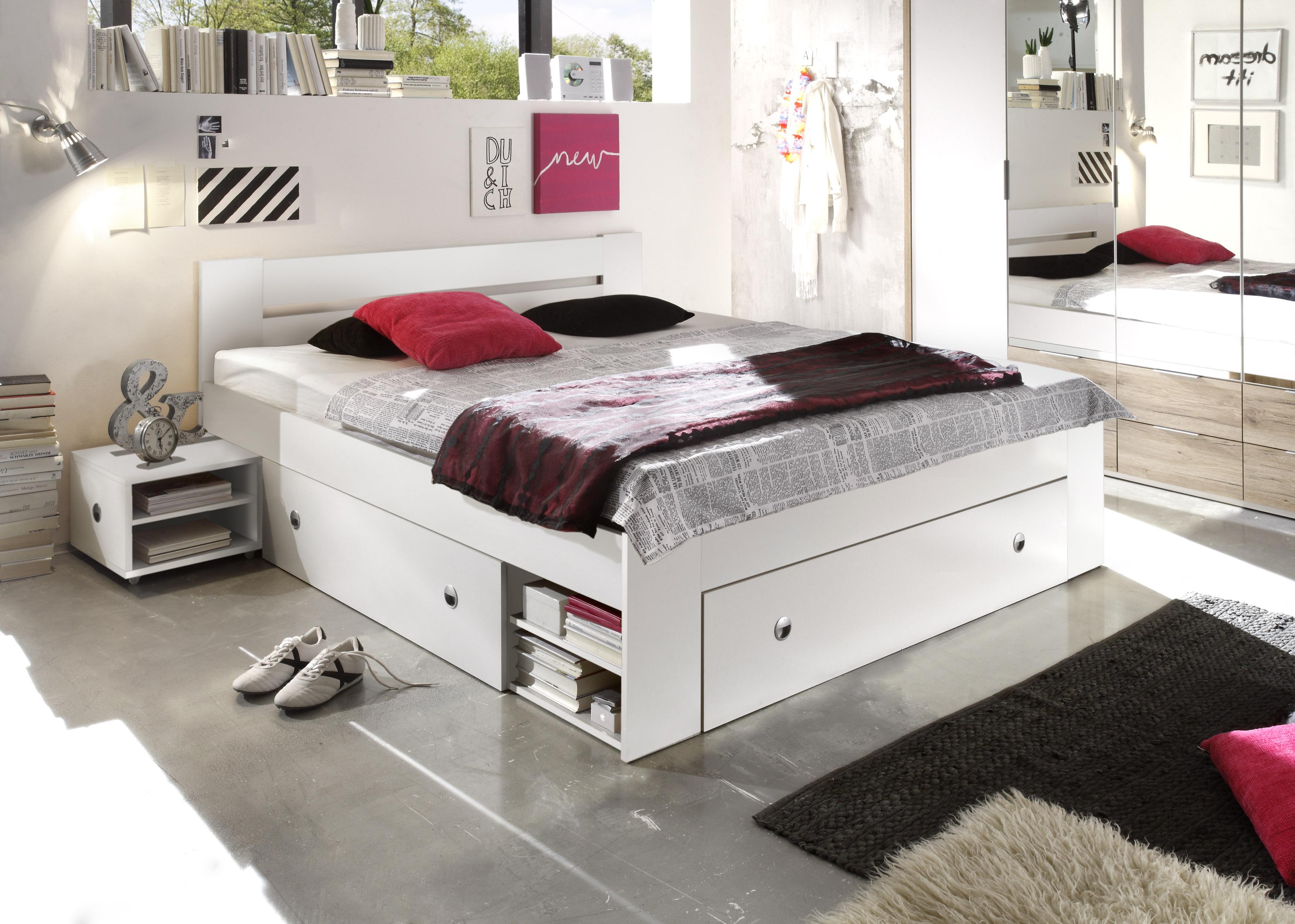 Details zu Doppelbett mit Nachtkommoden Bett 180 x 200 cm Ehebett weiß  Bettkasten