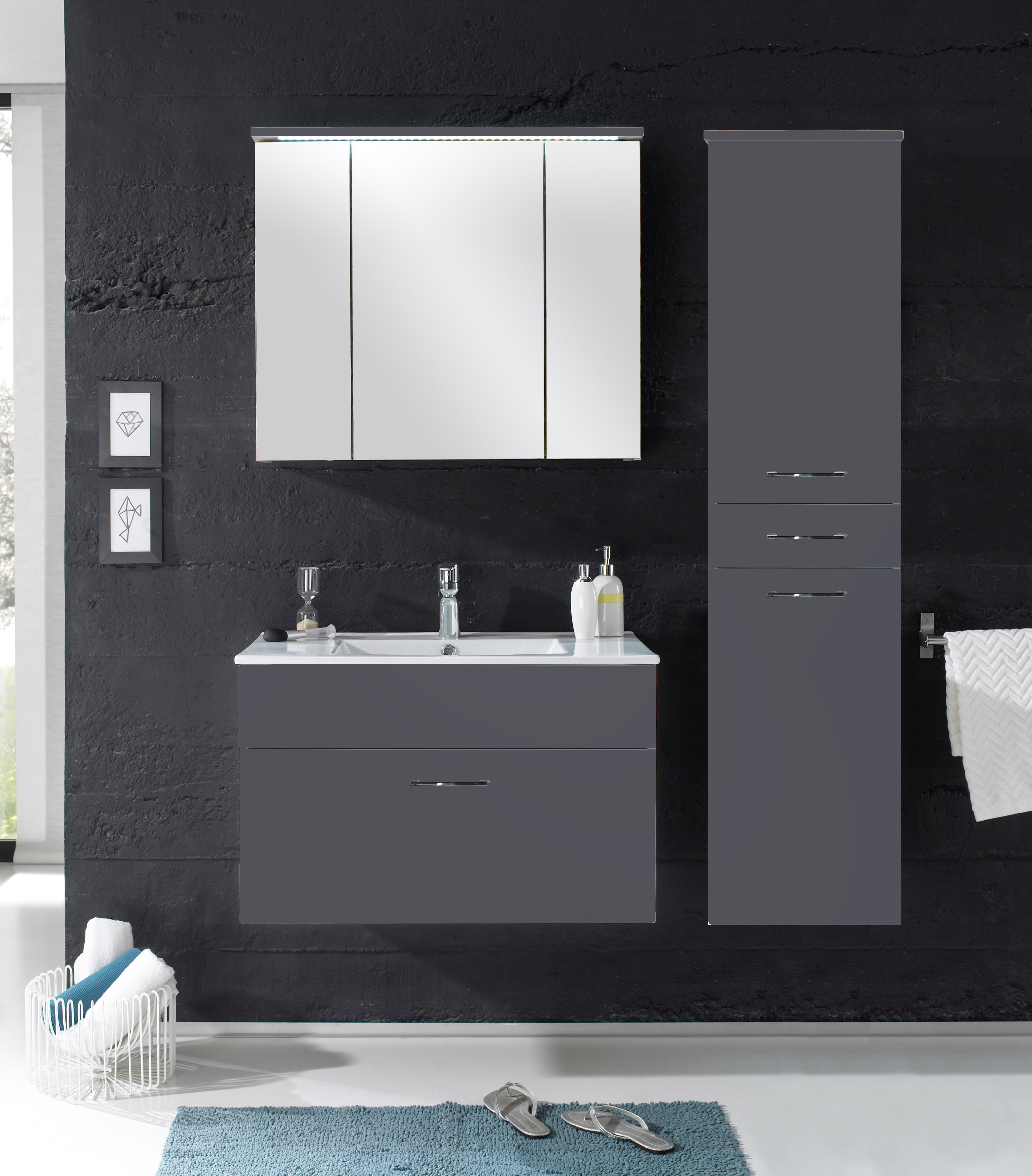 badm bel splash 3 tlg badezimmer set badm bel badezimmerm bel grau ebay. Black Bedroom Furniture Sets. Home Design Ideas