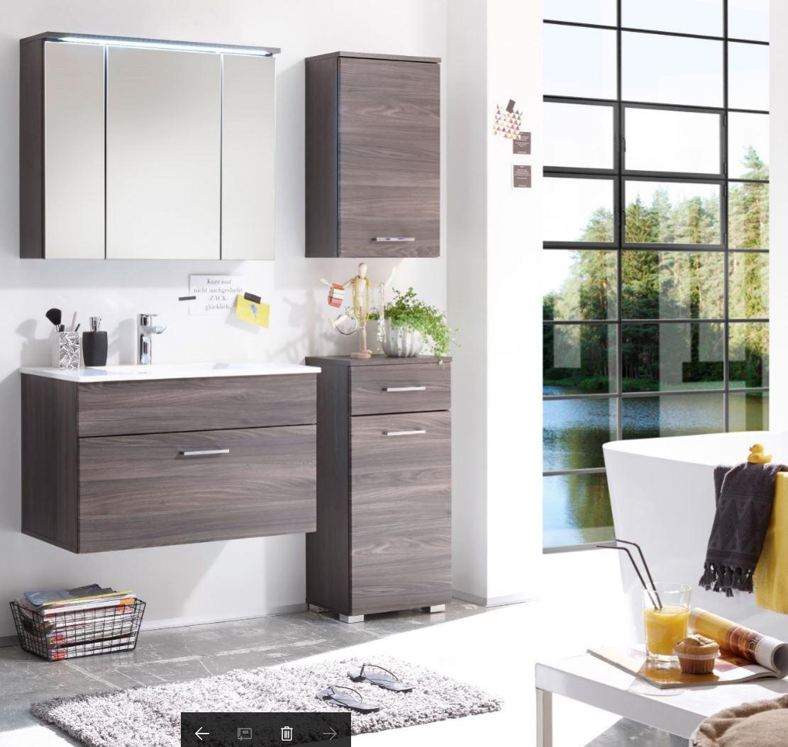 badm bel seattle 4 tlg badezimmer set braun sangallo mit beleuchtung ebay. Black Bedroom Furniture Sets. Home Design Ideas