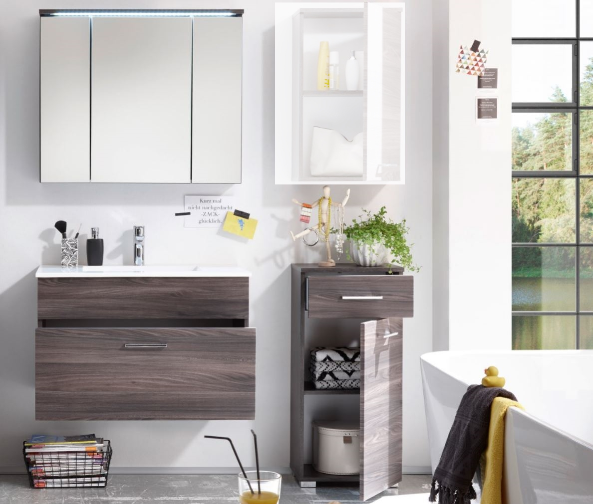badm bel seattle 3 tlg kommode badezimmer set braun sangallo mit beleuchtung ebay. Black Bedroom Furniture Sets. Home Design Ideas