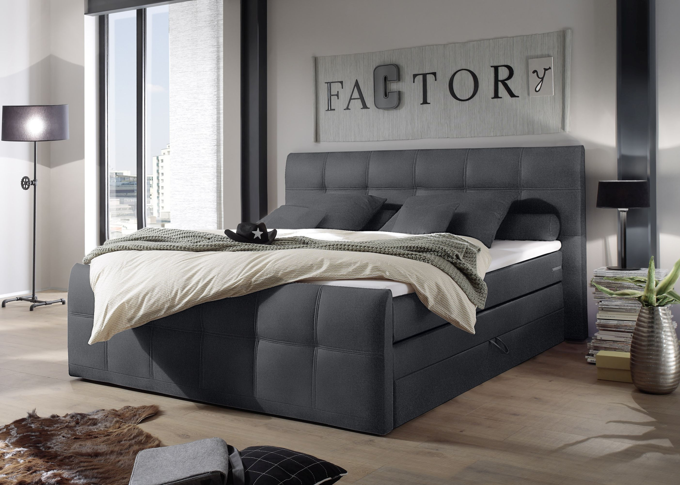 funktionspolsterbett boxspringbett doppelbett polsterbett 180cm grau sacb2 ebay. Black Bedroom Furniture Sets. Home Design Ideas