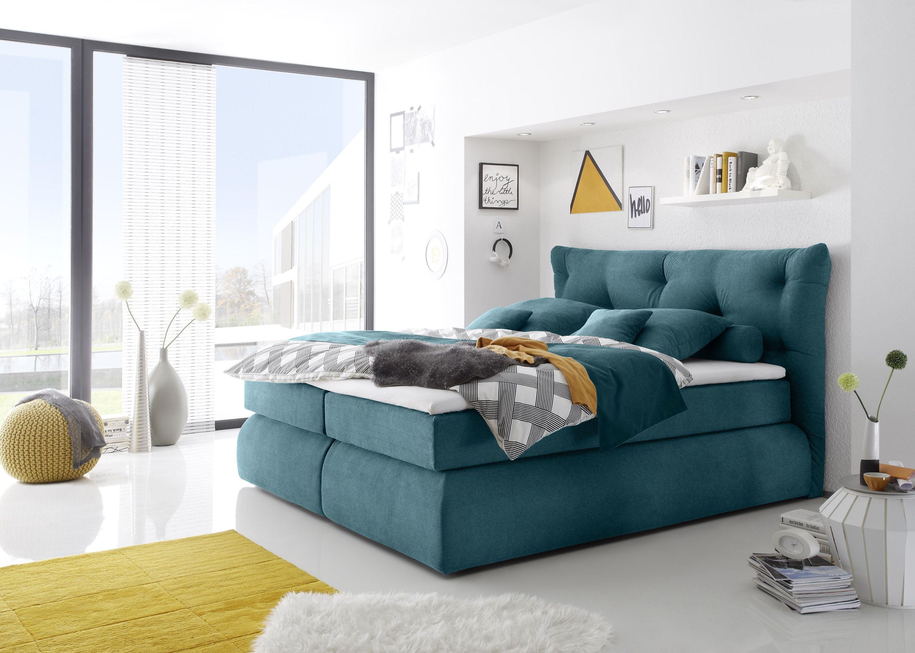 Details zu Boxspringbett 160cm blau Funktionspolsterbett Polsterbett  Schlafzimmer Bett Ma3