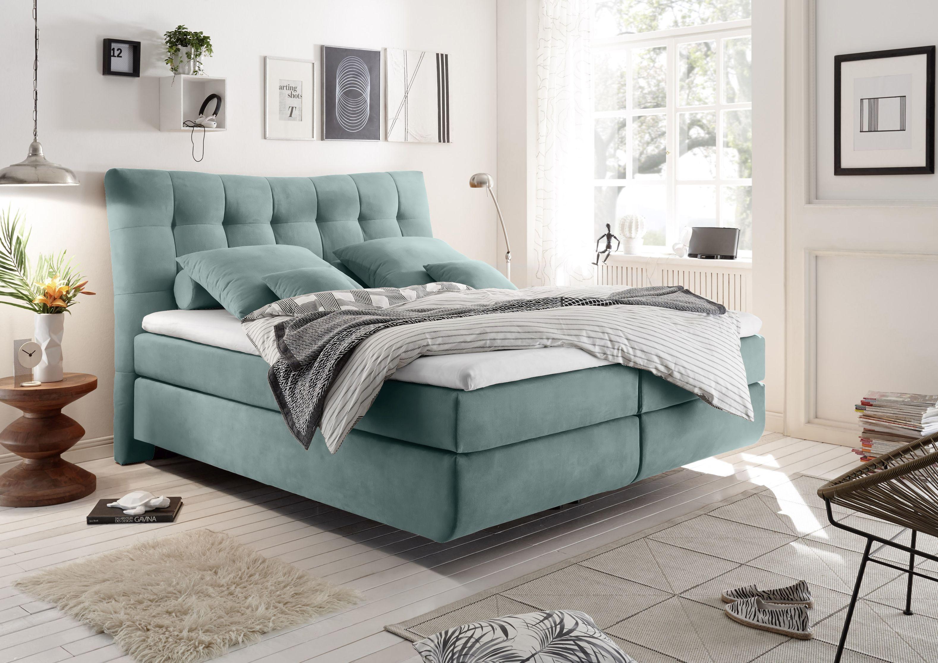 Details zu Boxspringbett 180cm blau Funktionspolsterbett Polsterbett  Schlafzimmer Bett MB2