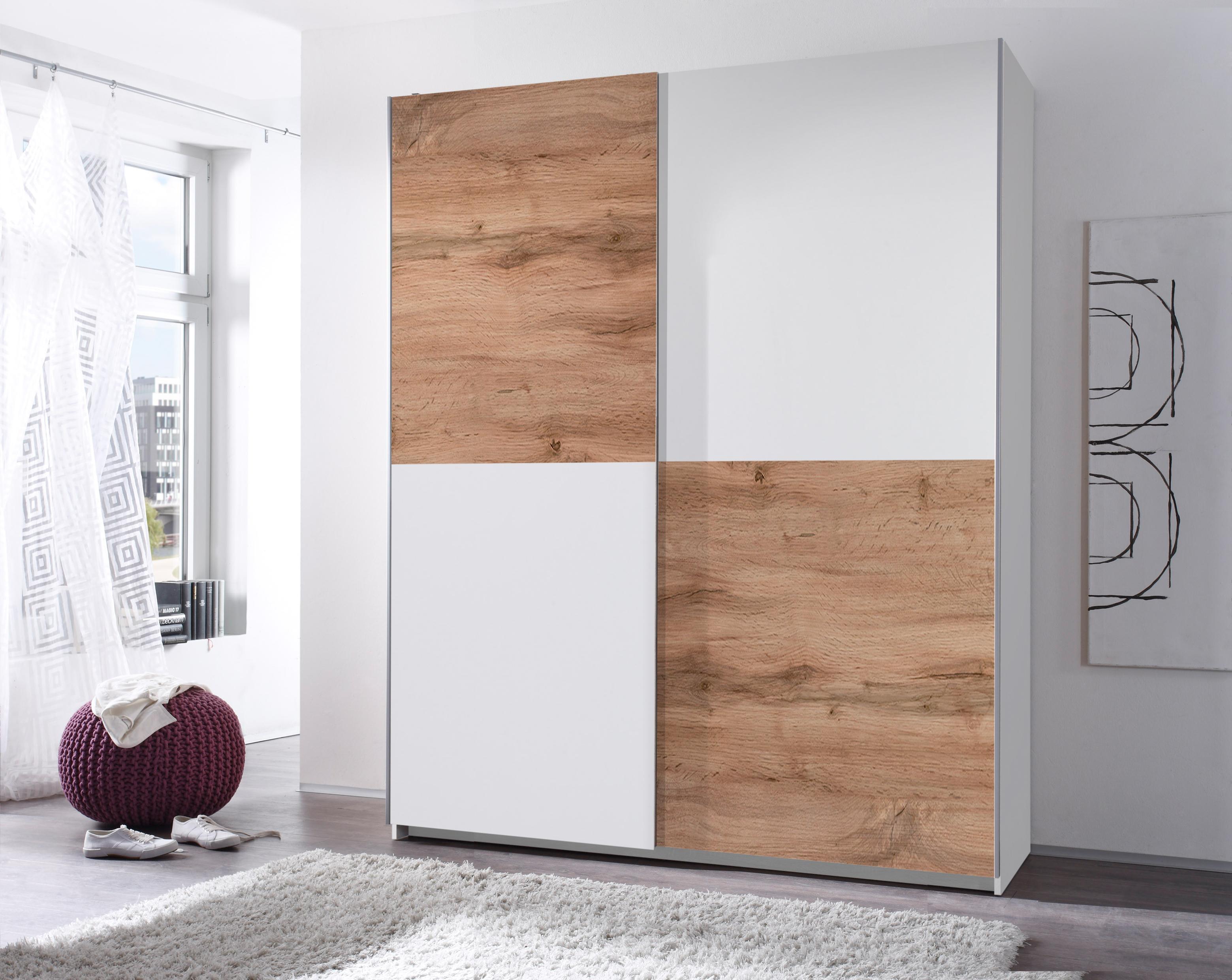 Kleiderschrank Schwebetürenschrank Schlafzimmer 170cm Weiß Schachbrett Wildeiche   eBay
