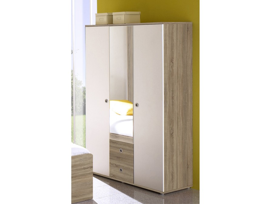 kleiderschrank wiki 3 t r schrank spiegel kinderzimmer jugendzimmer sonoma wei ebay. Black Bedroom Furniture Sets. Home Design Ideas