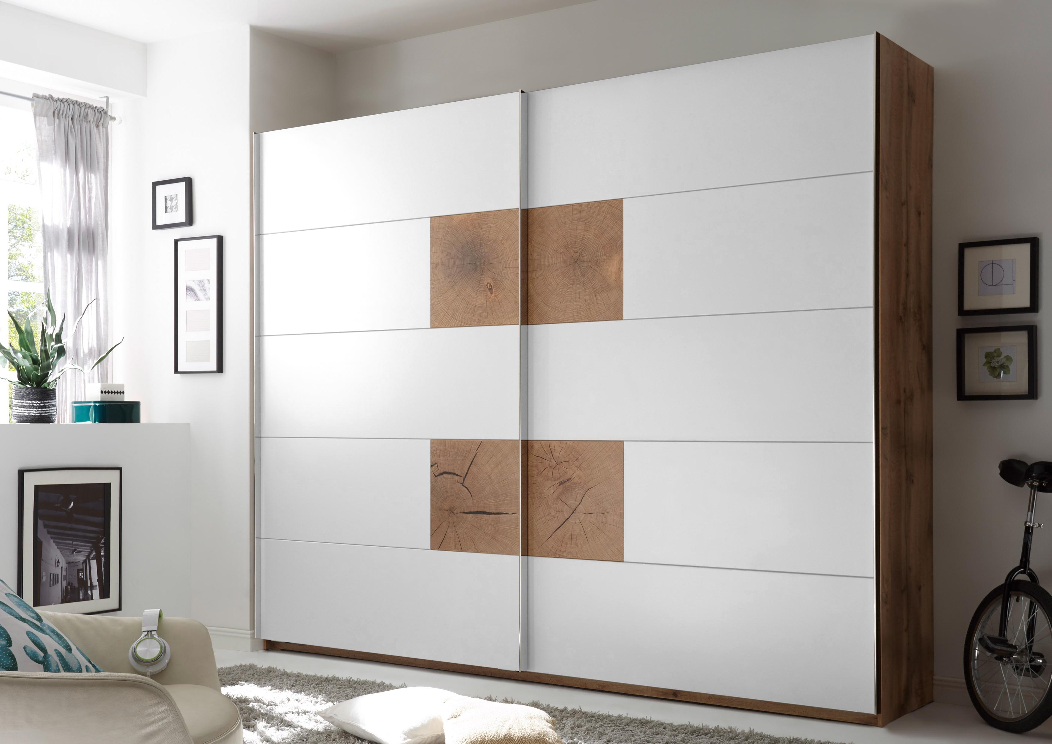 Details zu Schwebetürenschrank CAPRI Kleiderschrank Schrank Schlafzimmer  weiß Eiche 270cm