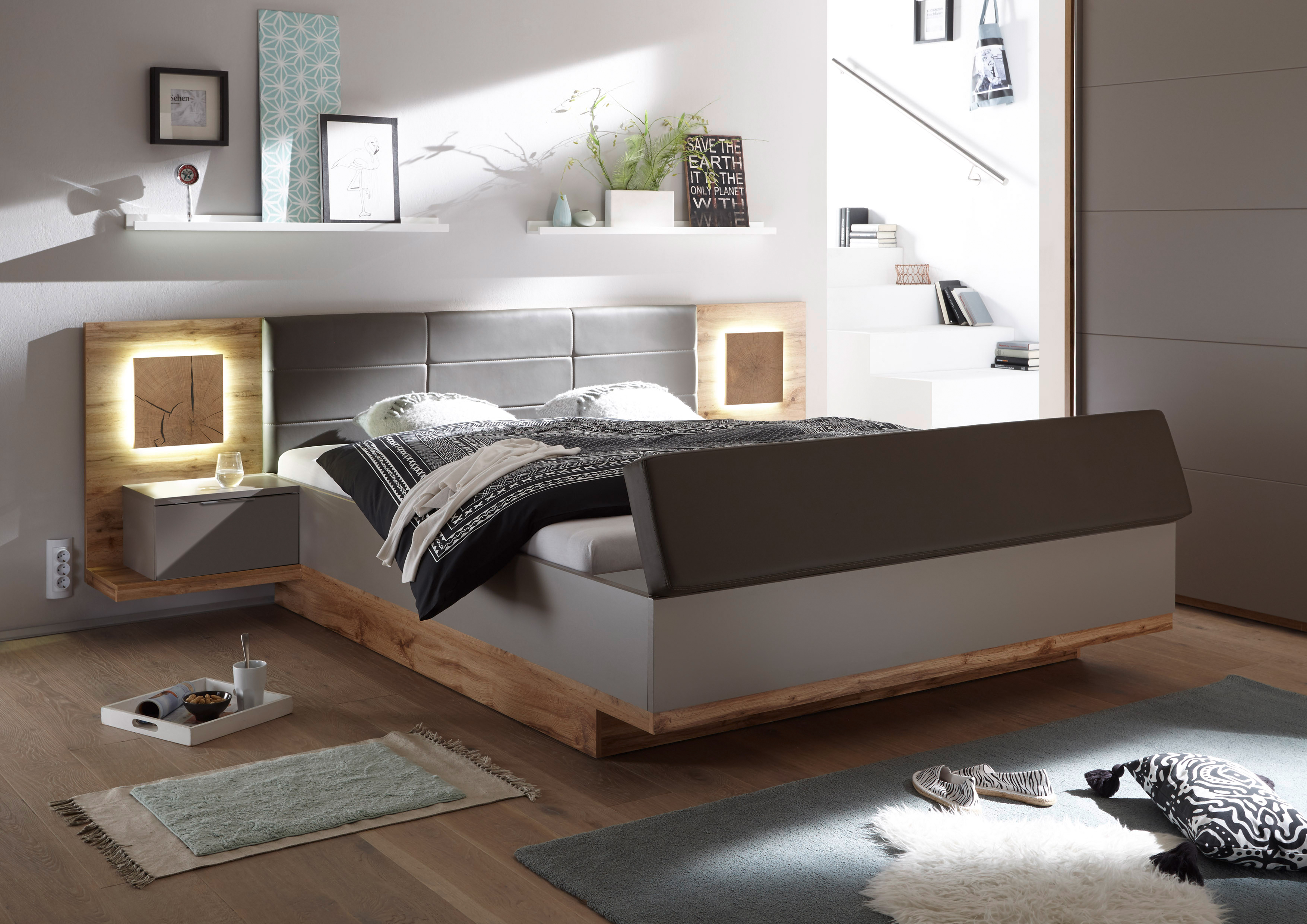 Schlafzimmer Komplett Set 4-tlg. CAPRI XL Bett 180 Kleiderschrank ...