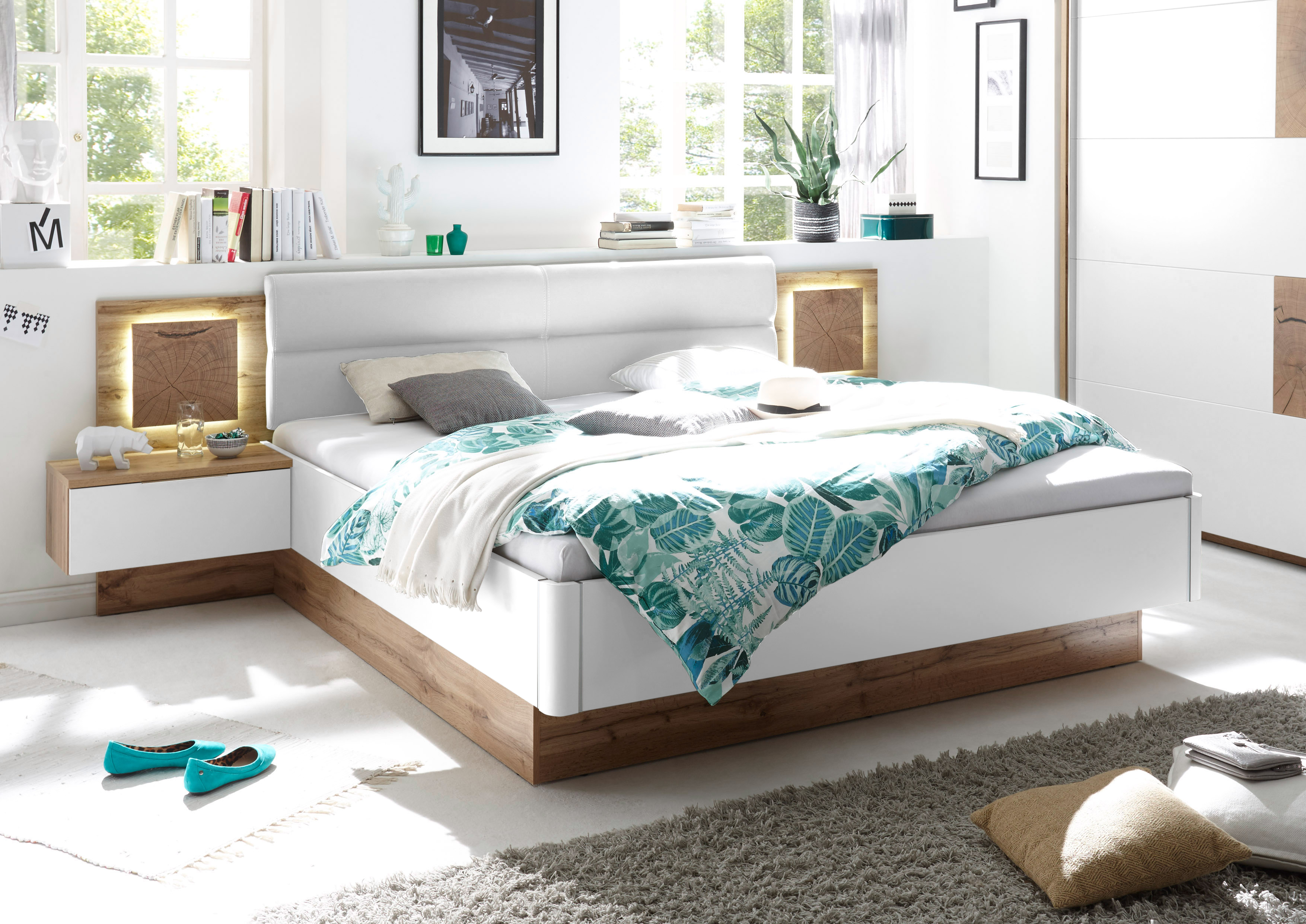 Schlafzimmer Komplett Set 4-tlg. CAPRI Bett 180 Kleiderschrank grau ...