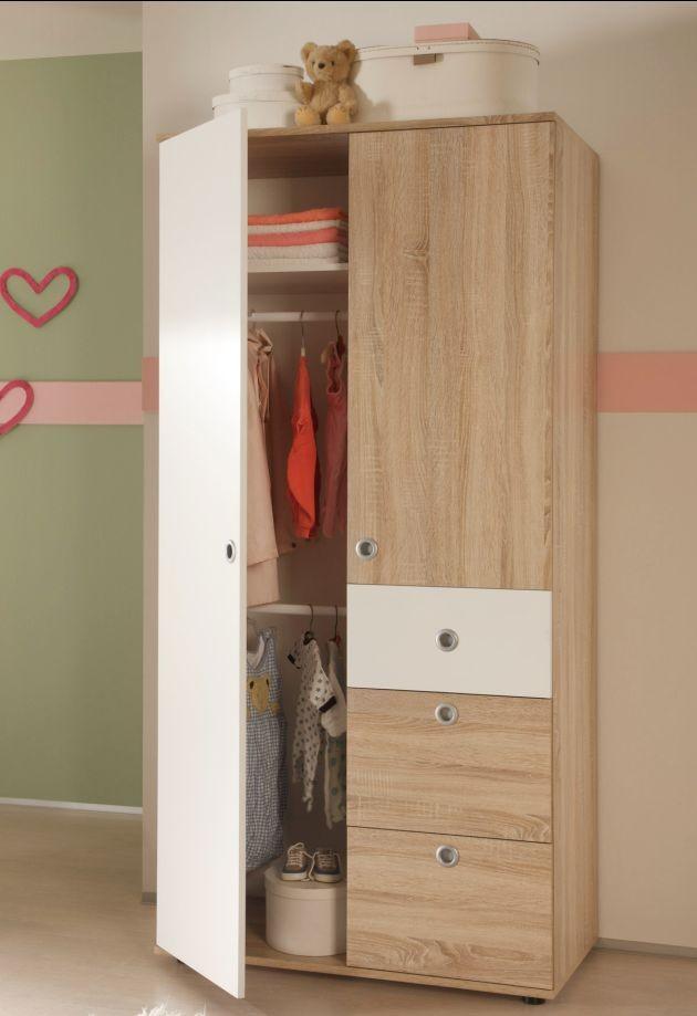 Details zu Kleiderschrank WIKI 2 Tür Schrank Kinderzimmer Jugendzimmer  Sonoma Weiß