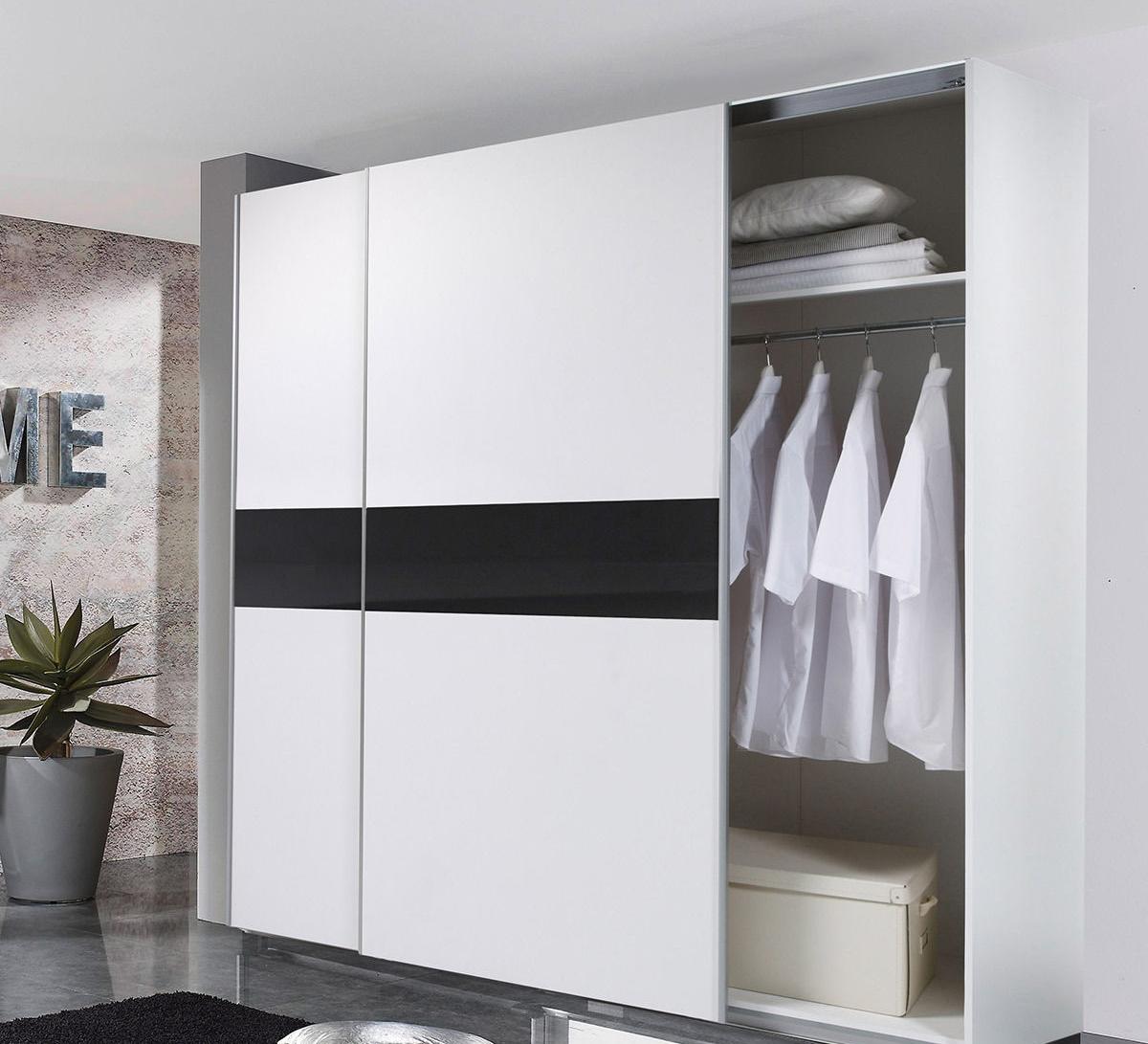 Details zu Kleiderschrank VICTOR 2 Schwebetürenschrank Schrank Schlafzimmer  Weiß Schwarz