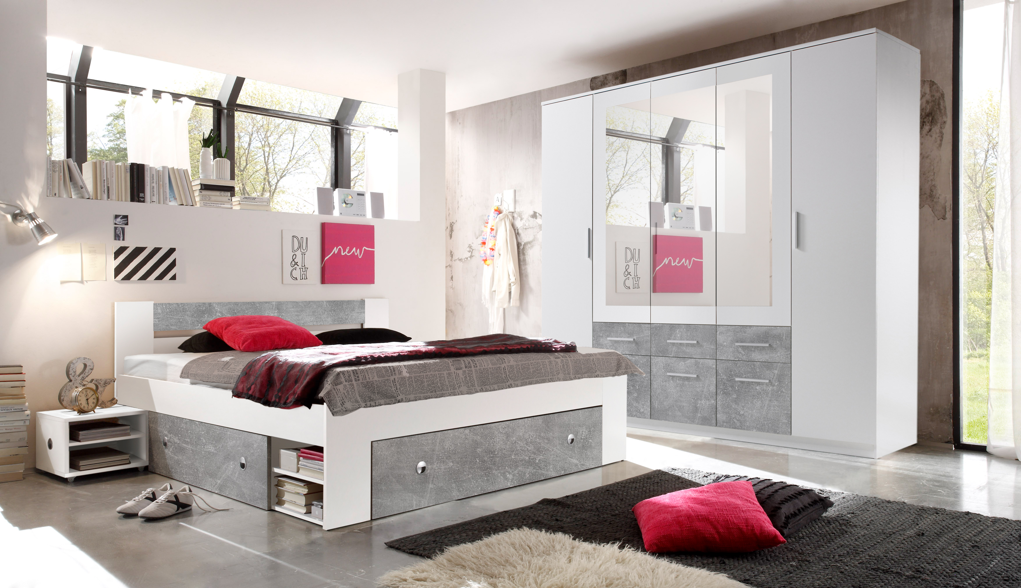 schlafzimmer komplett set 4 tlg stefan bett 180 kleiderschrank wei beton ebay. Black Bedroom Furniture Sets. Home Design Ideas