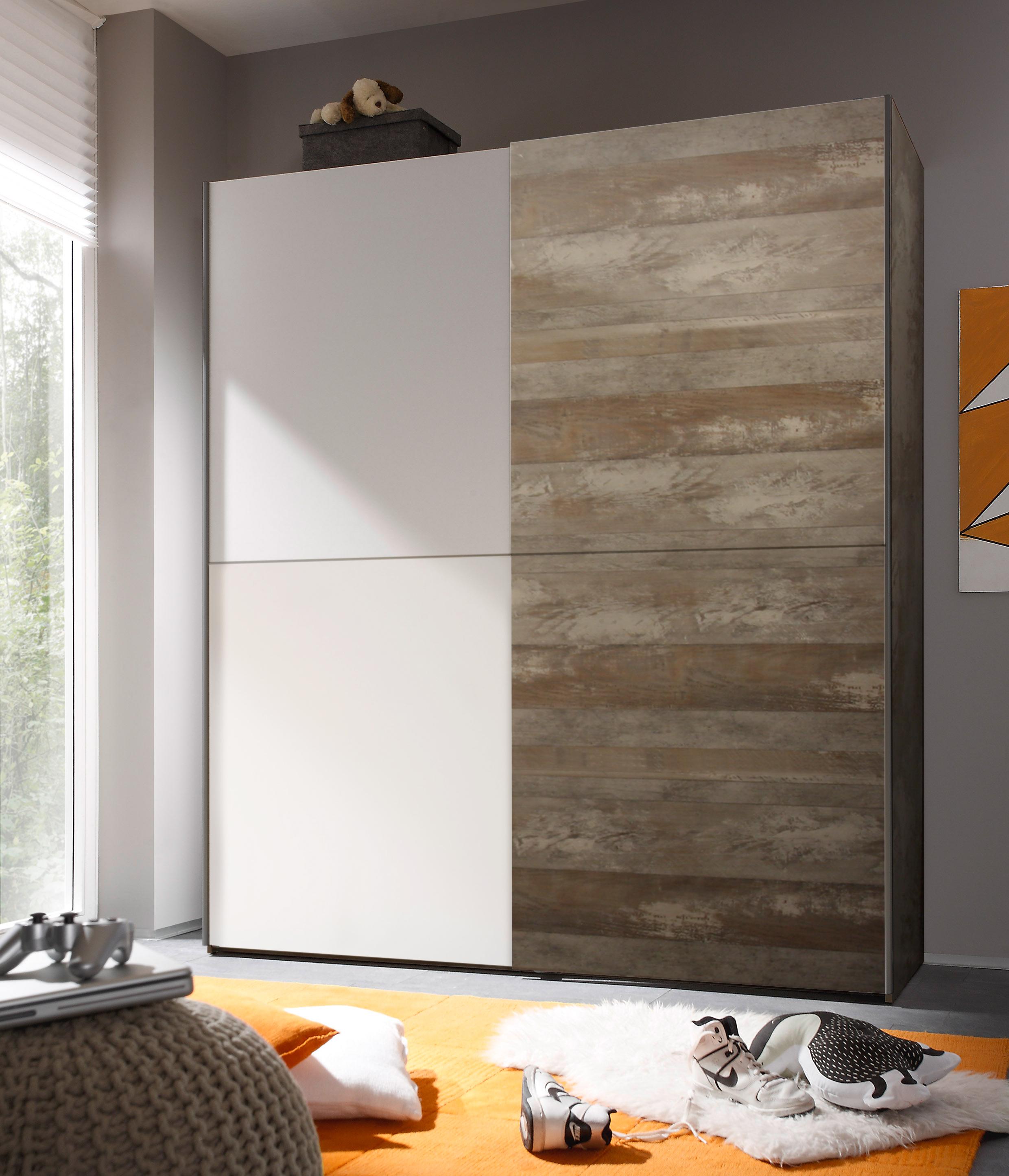 Schwebetürenschrank Kleiderschrank Schrank Schlafzimmer Driftwood Weiß 170cm   eBay