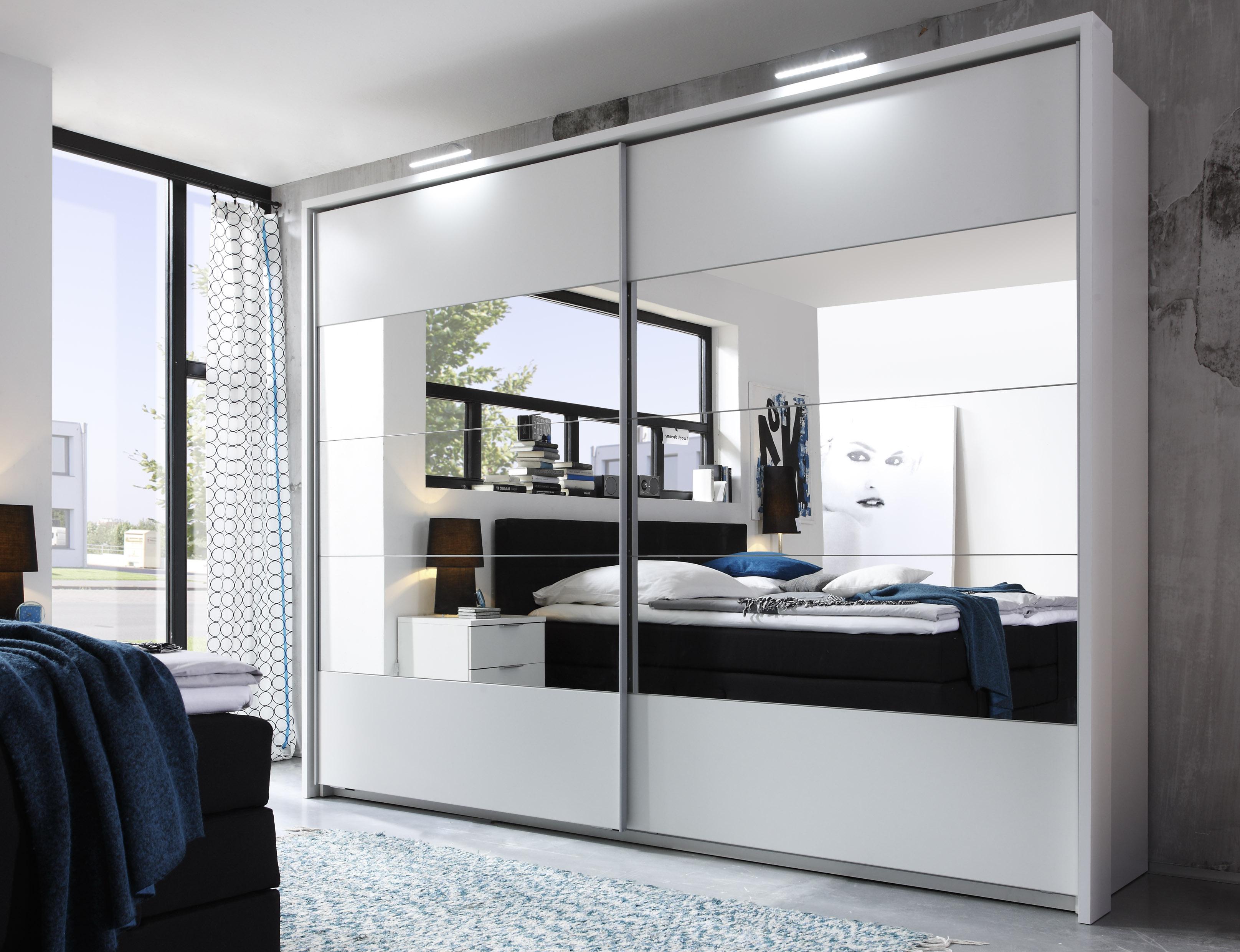 Details zu Schwebetürenschrank PENTA Kleiderschrank Schrank Schlafzimmer  weiß Rahmen, LED