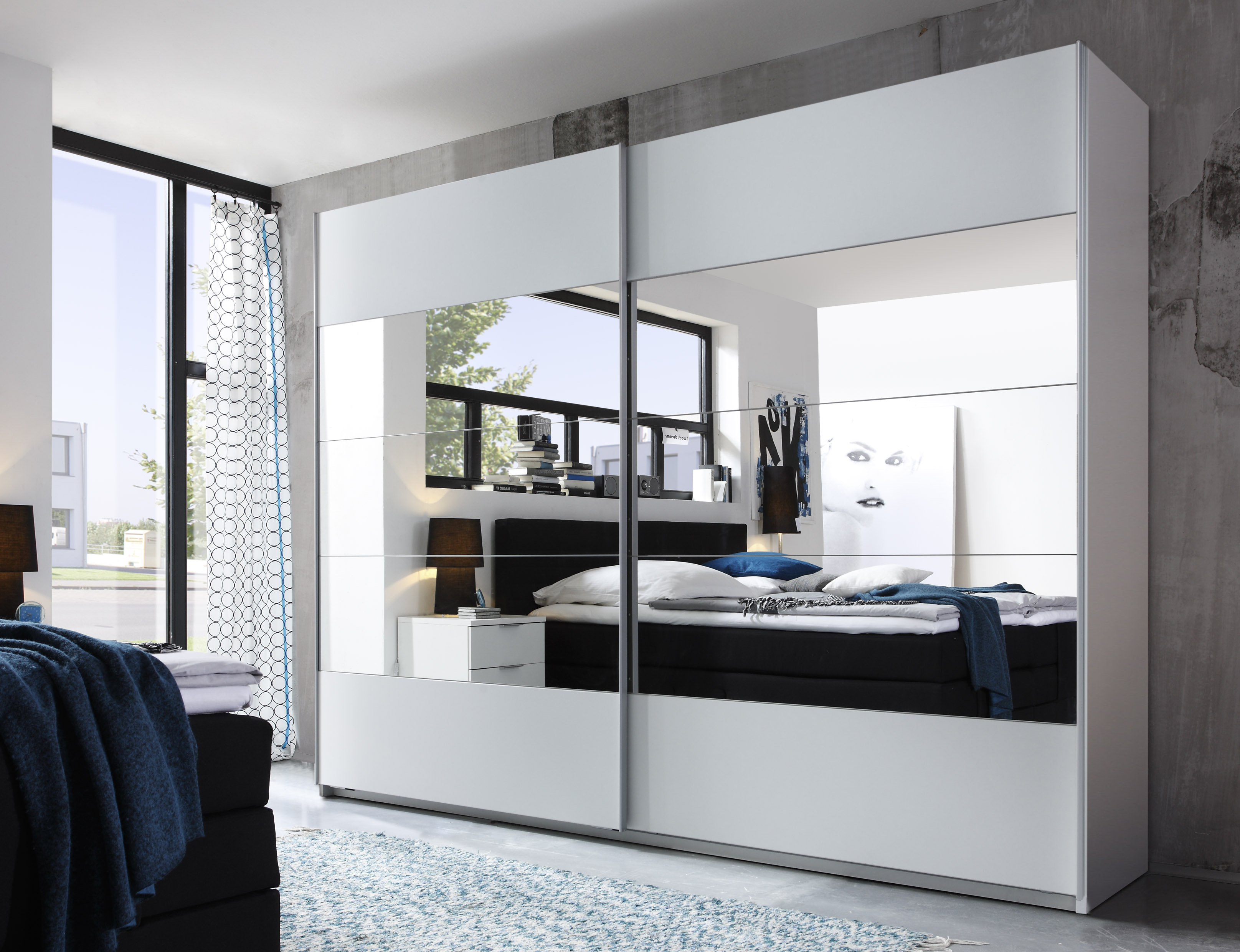 sliding wardrobe doors penta 5 wardrobe bedroom closet white with mirror ebay