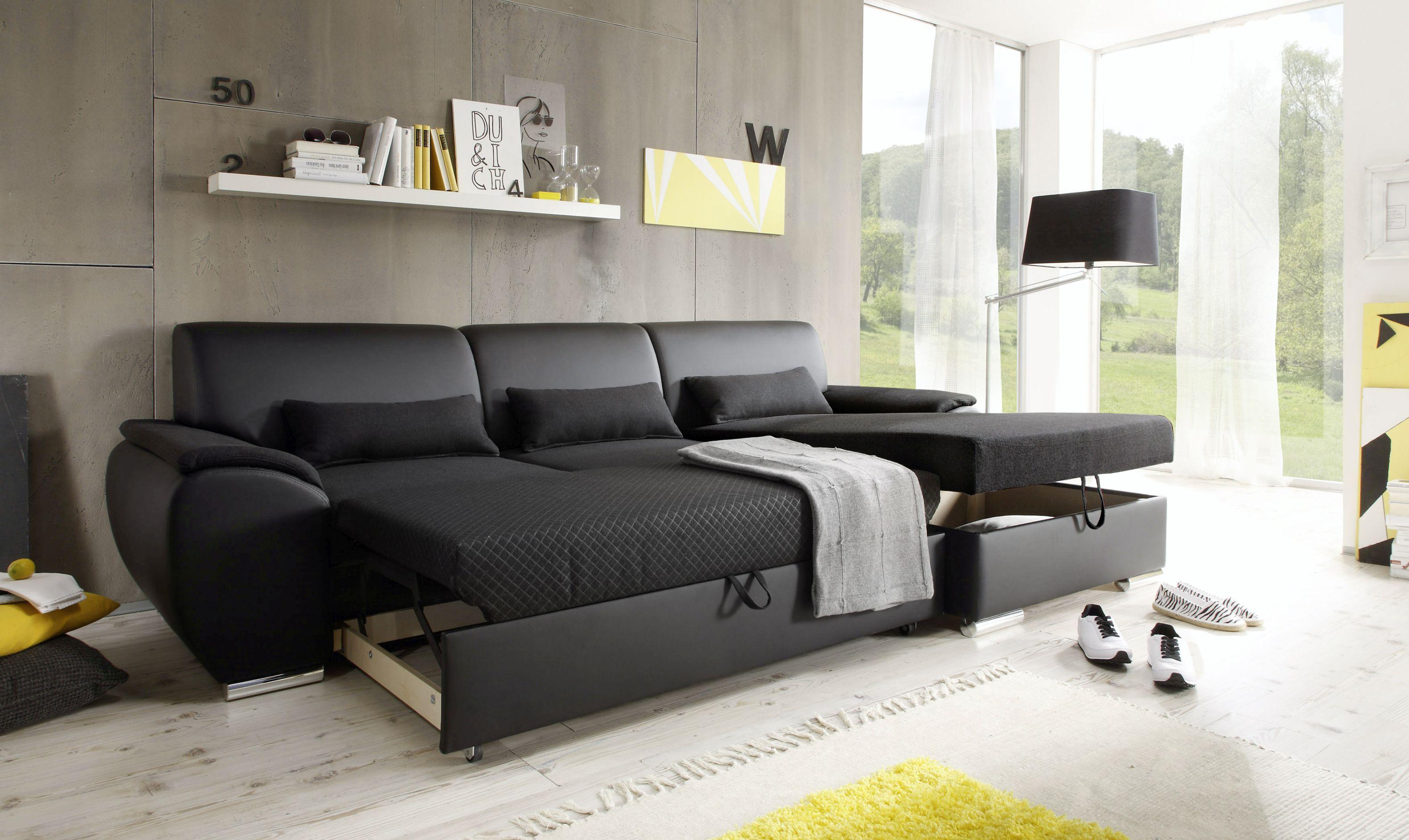 Schlafcouch Ausziehbar longchair antara schlafcouch ausziehbar lederlook schwarz 277 cm