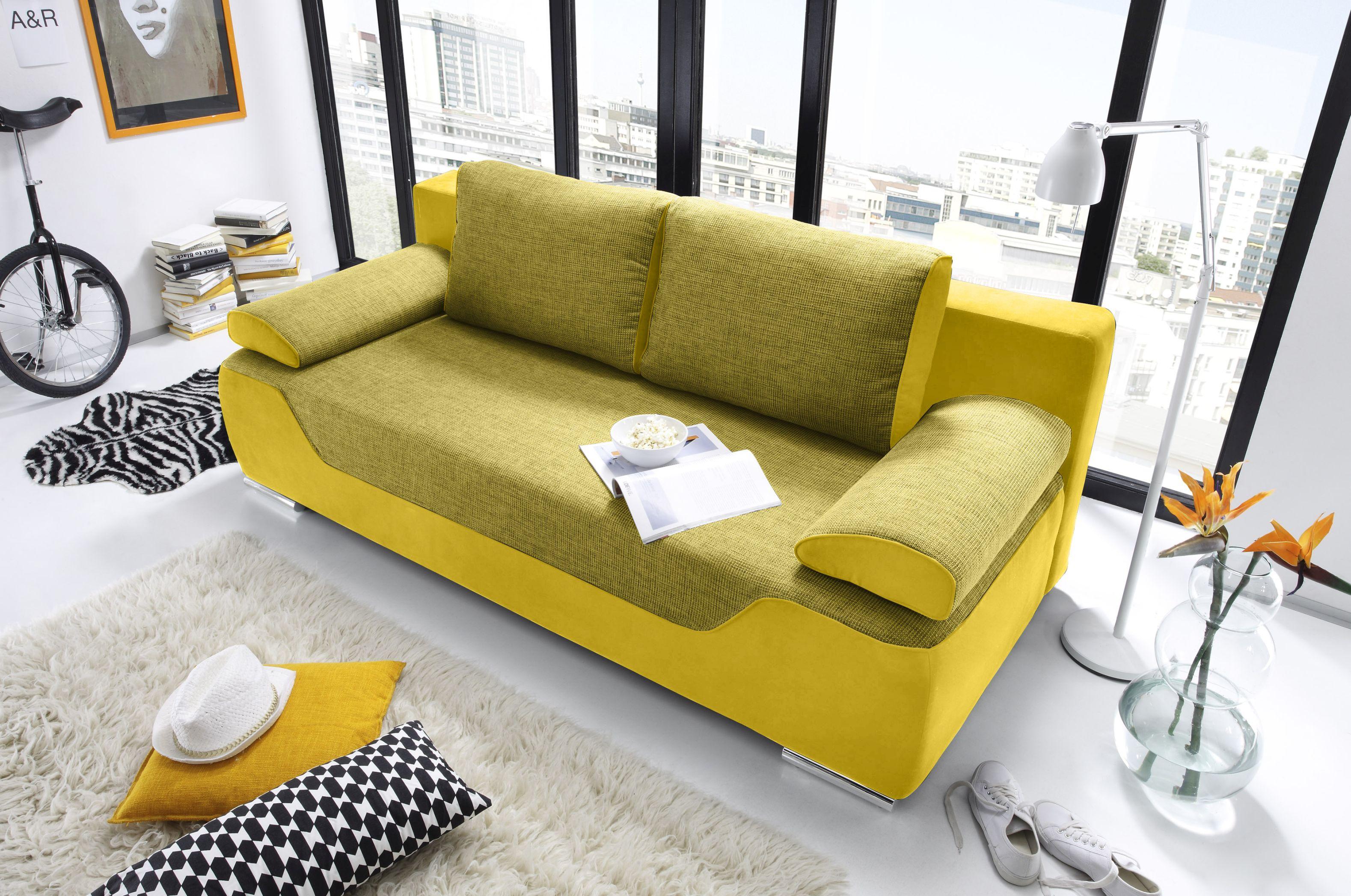 Couch Schlafsofa Sofabett Funktionssofa ausziehbar gelb ...