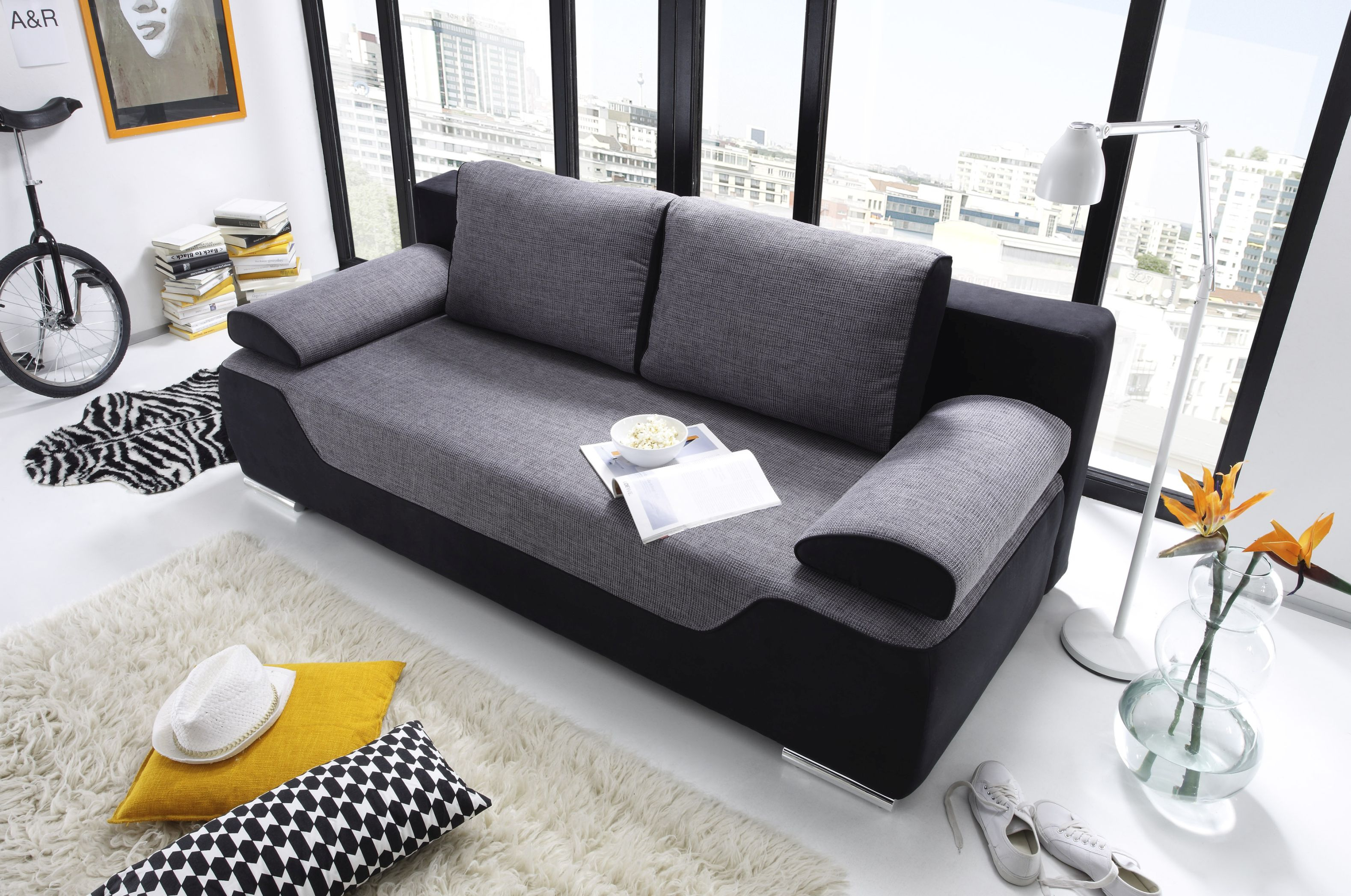 couch schlafsofa sofabett funktionssofa ausziehbar schwarz 200 cm 4250826313860 ebay. Black Bedroom Furniture Sets. Home Design Ideas