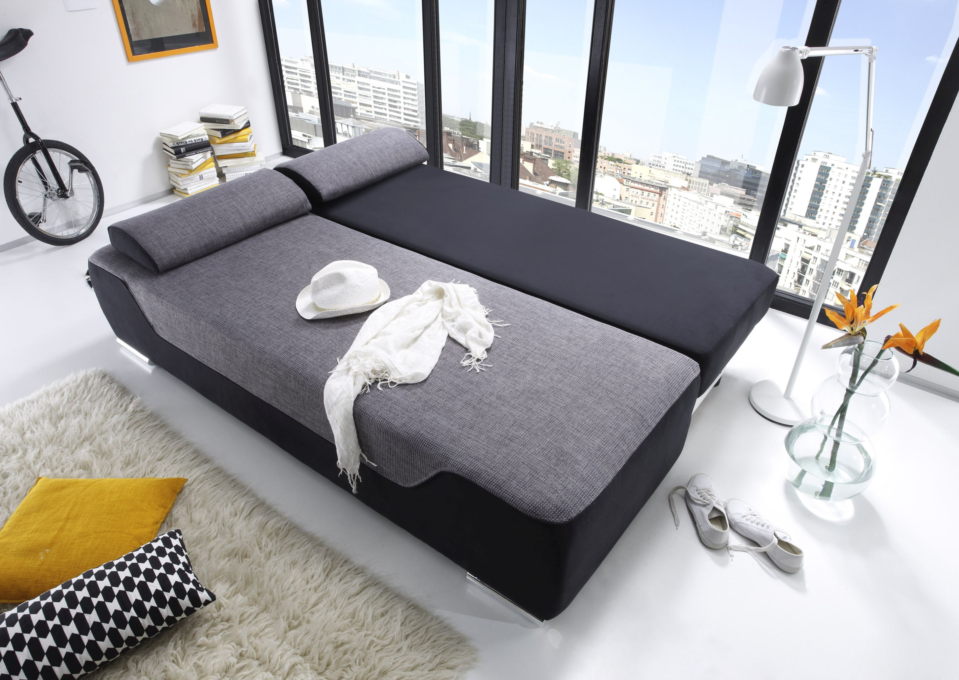 couch schlafsofa sofabett funktionssofa ausziehbar schwarz 200 cm ebay. Black Bedroom Furniture Sets. Home Design Ideas