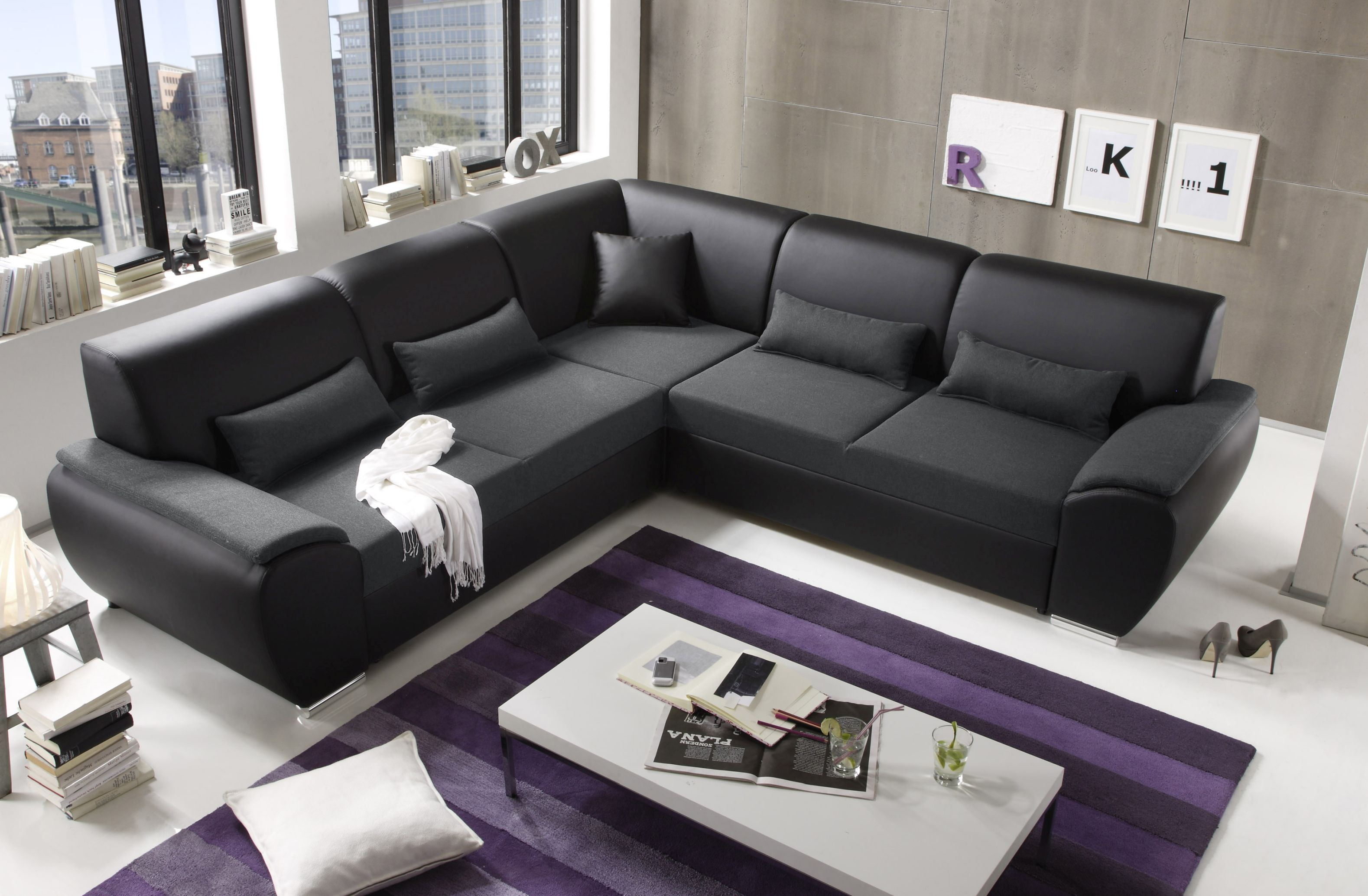 kombiecke antara couch schlafcouch funktionssofa ausziehbar anthrazit 272 cm ebay. Black Bedroom Furniture Sets. Home Design Ideas