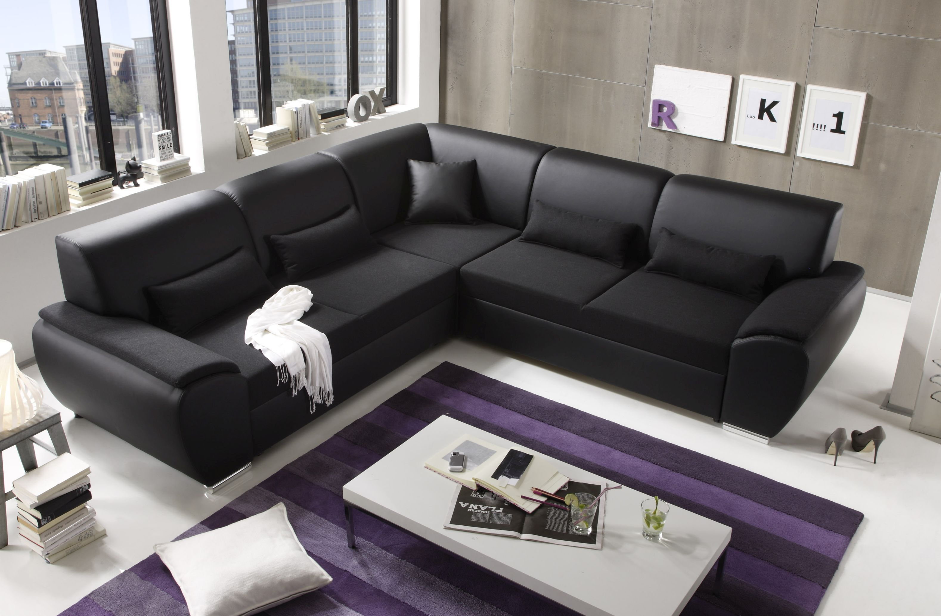 ecksofa kombiecke couch schlafcouch funktionssofa ausziehbar schwarz 272 cm 4250826308163 ebay. Black Bedroom Furniture Sets. Home Design Ideas
