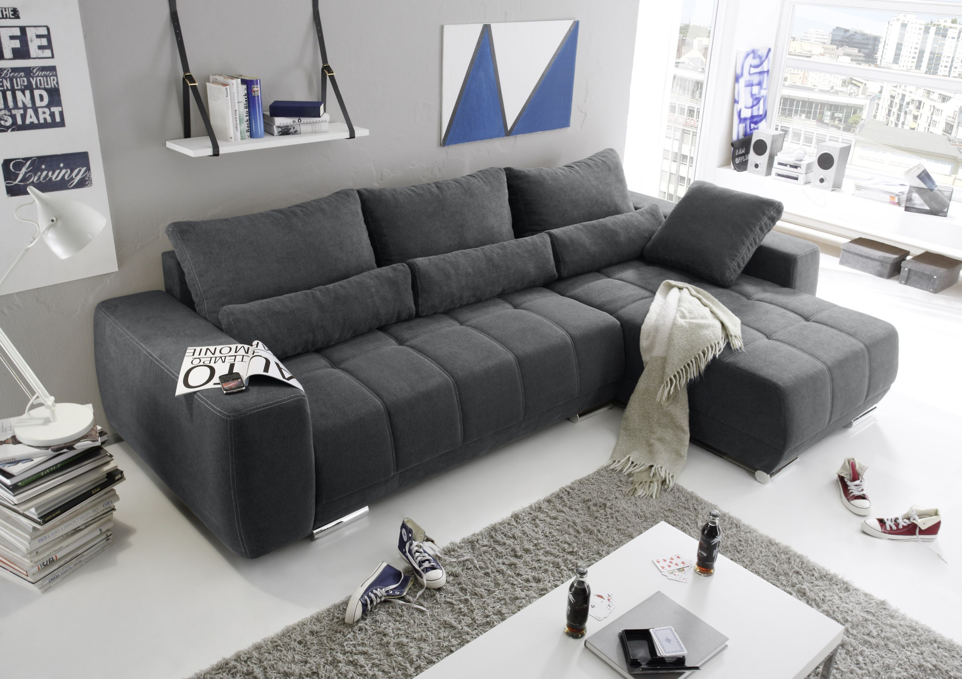 eckcouch lopez couch schlafsofa funktionssofa ausziehbar grau 305 cm ebay. Black Bedroom Furniture Sets. Home Design Ideas