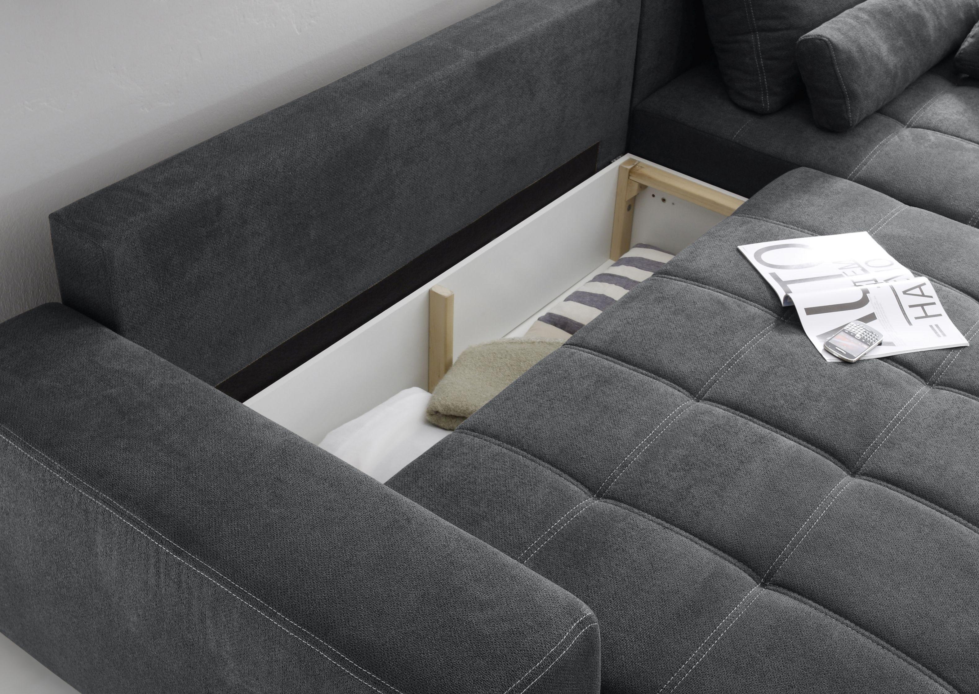 eckcouch lopez couch schlafsofa funktionssofa ausziehbar grau 305 cm ebay. Black Bedroom Furniture Sets. Home Design Ideas