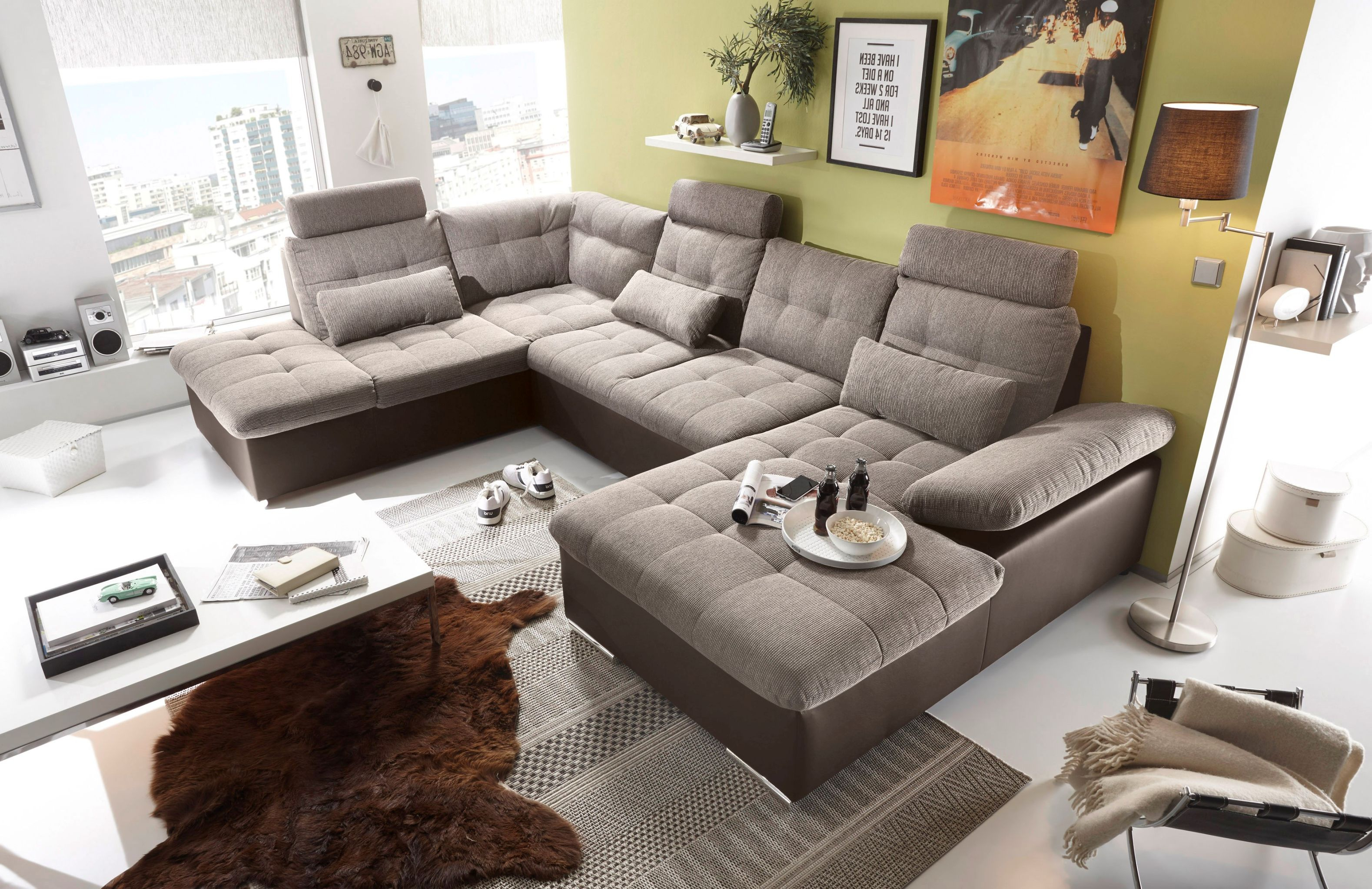 couch wohnlandschaft schlaffunktion schlafsofa braun beige ottomane links ebay. Black Bedroom Furniture Sets. Home Design Ideas