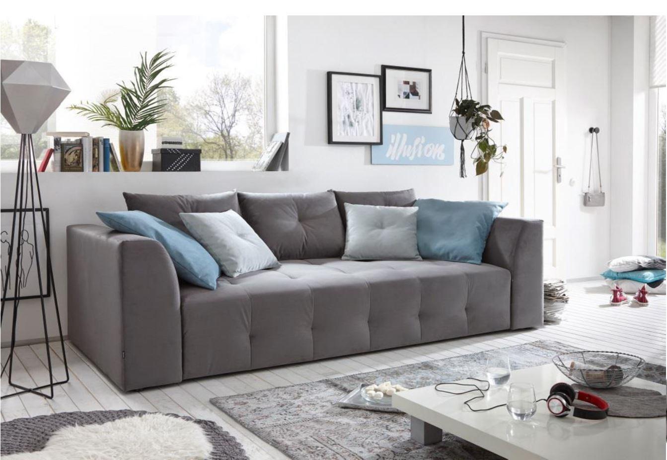Couch schlafsofa sofabett funktionssofa ausziehbar grau for Wohnlandschaft ausziehbar