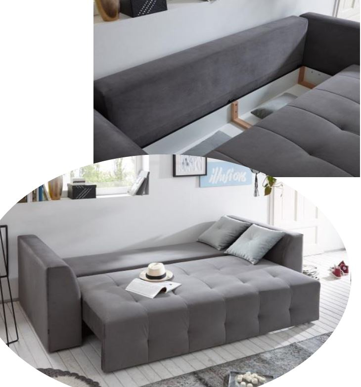 couch schlafsofa sofabett funktionssofa ausziehbar grau 251 cm ebay. Black Bedroom Furniture Sets. Home Design Ideas