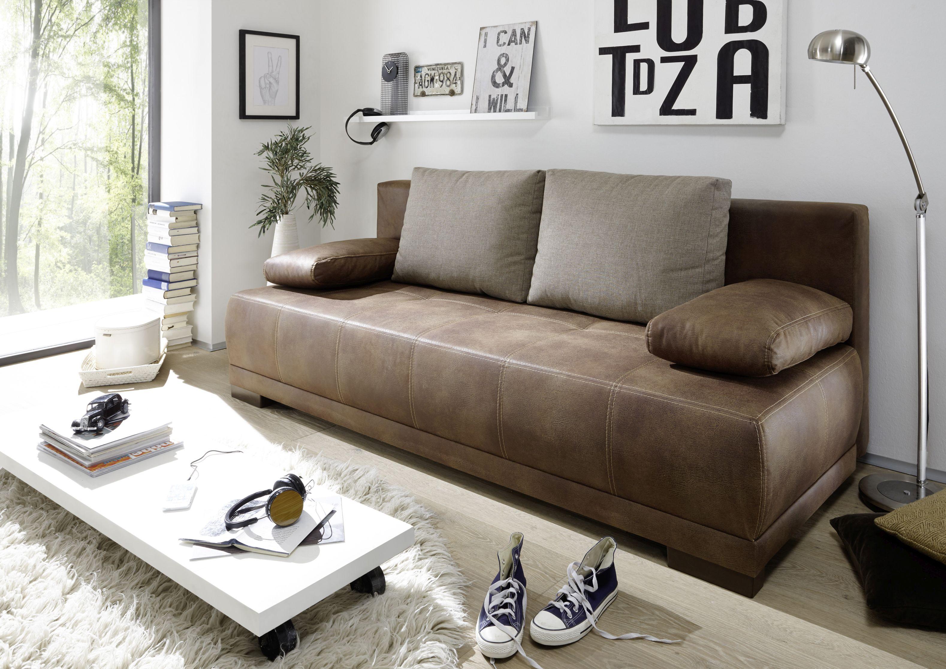 Couch Schlafsofa Sofabett Funktionssofa Ausziehbar Lederlook Braun
