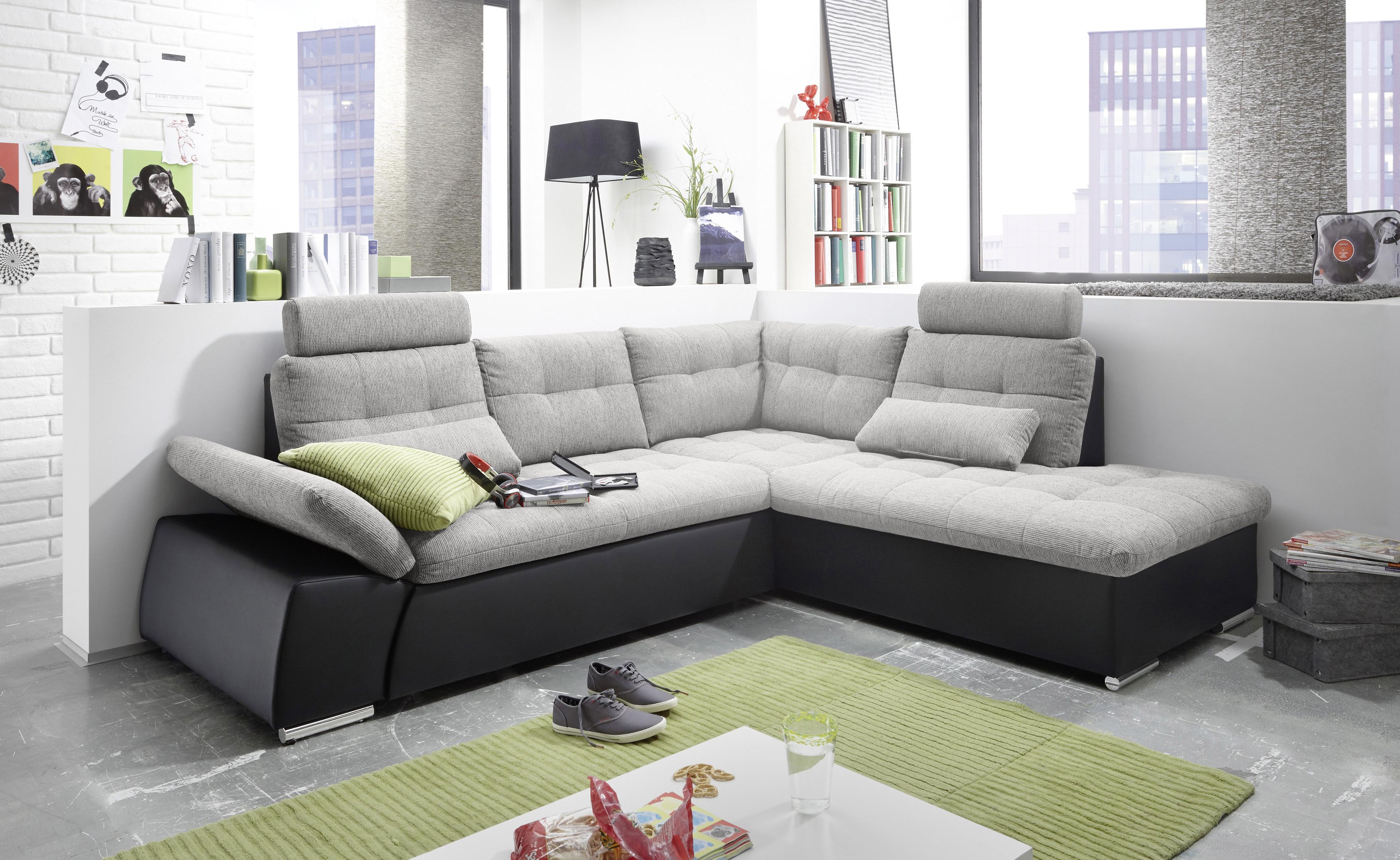 ecksofa jak couch schlafcouch sofa lederlook schwarz. Black Bedroom Furniture Sets. Home Design Ideas