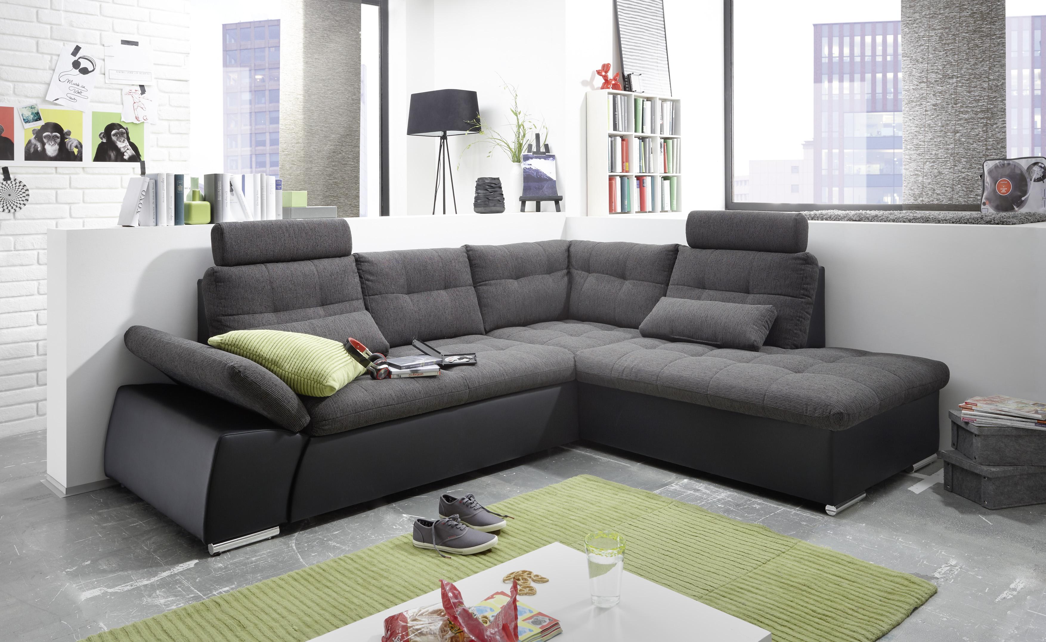 ecksofa jak couch schlafcouch sofa lederlook schwarz grau. Black Bedroom Furniture Sets. Home Design Ideas