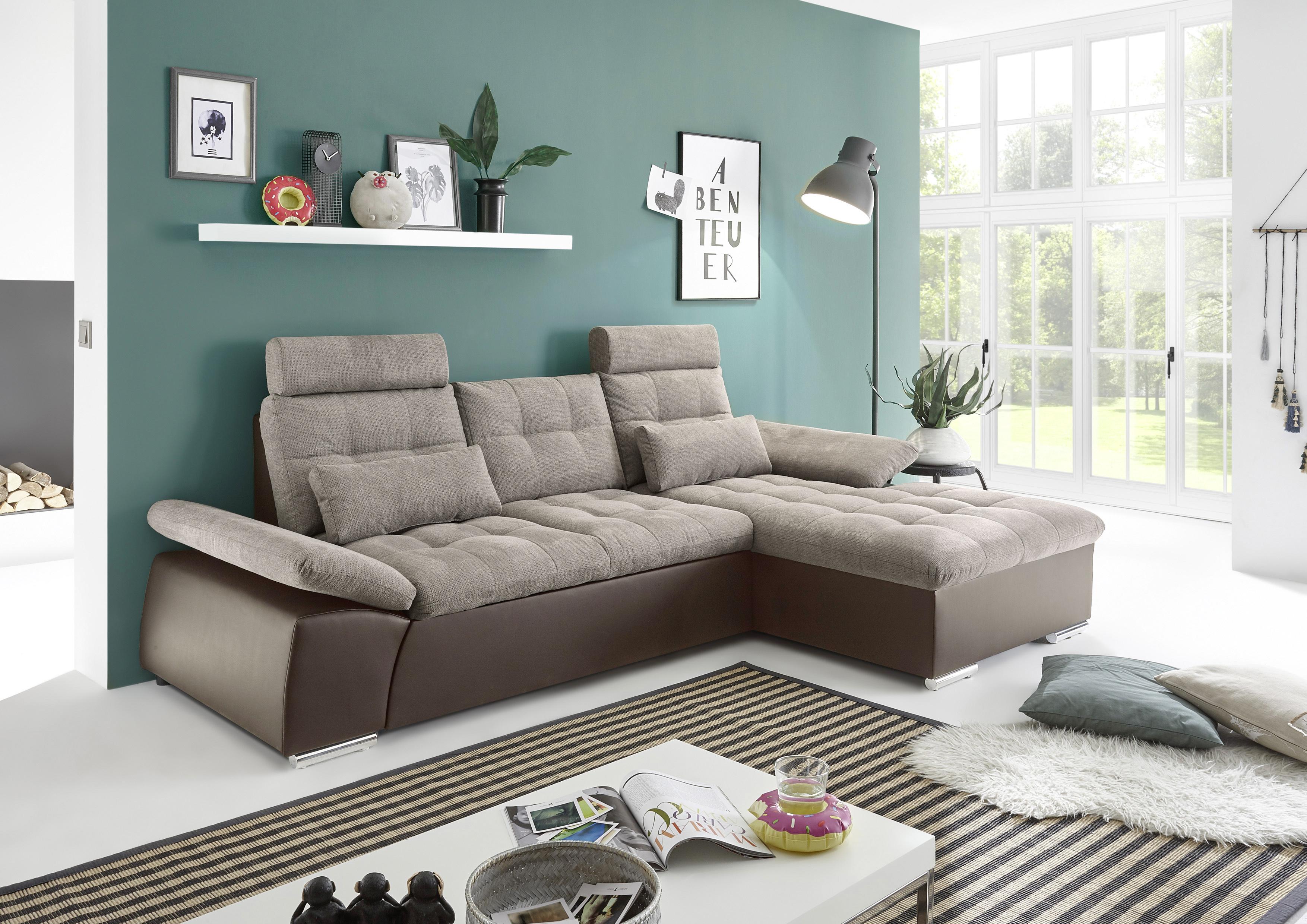 Details zu Ecksofa Couch Schlafcouch Schlafsofa Lederlook braun beige  Ottomane rechts LForm