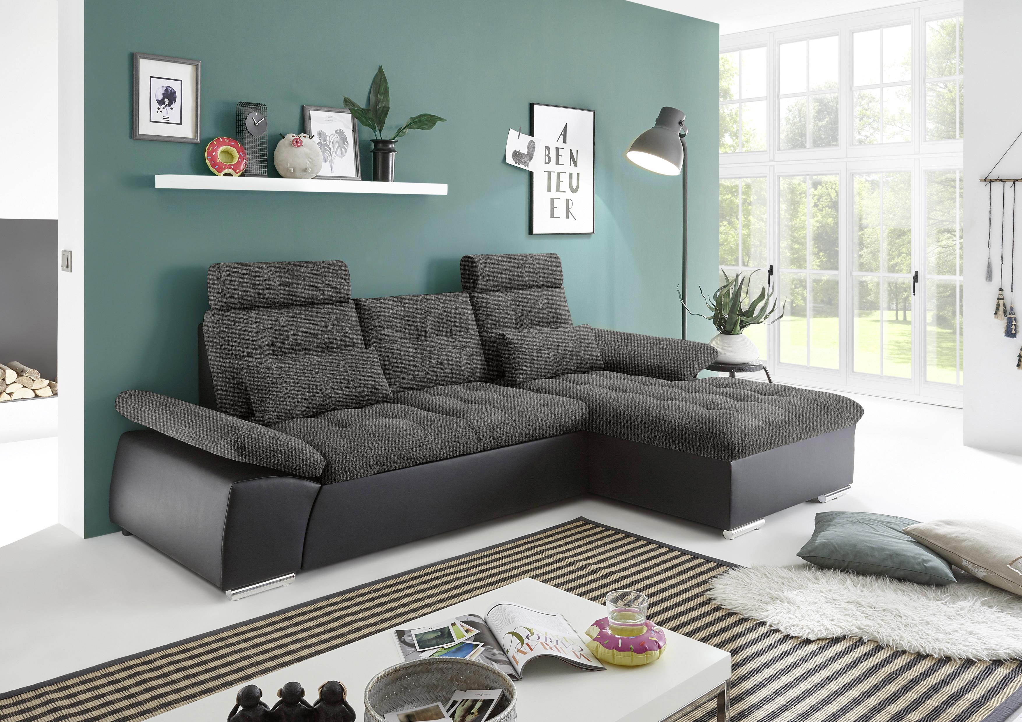 ecksofa couch schlafcouch schlafsofa lederlook schwarz. Black Bedroom Furniture Sets. Home Design Ideas